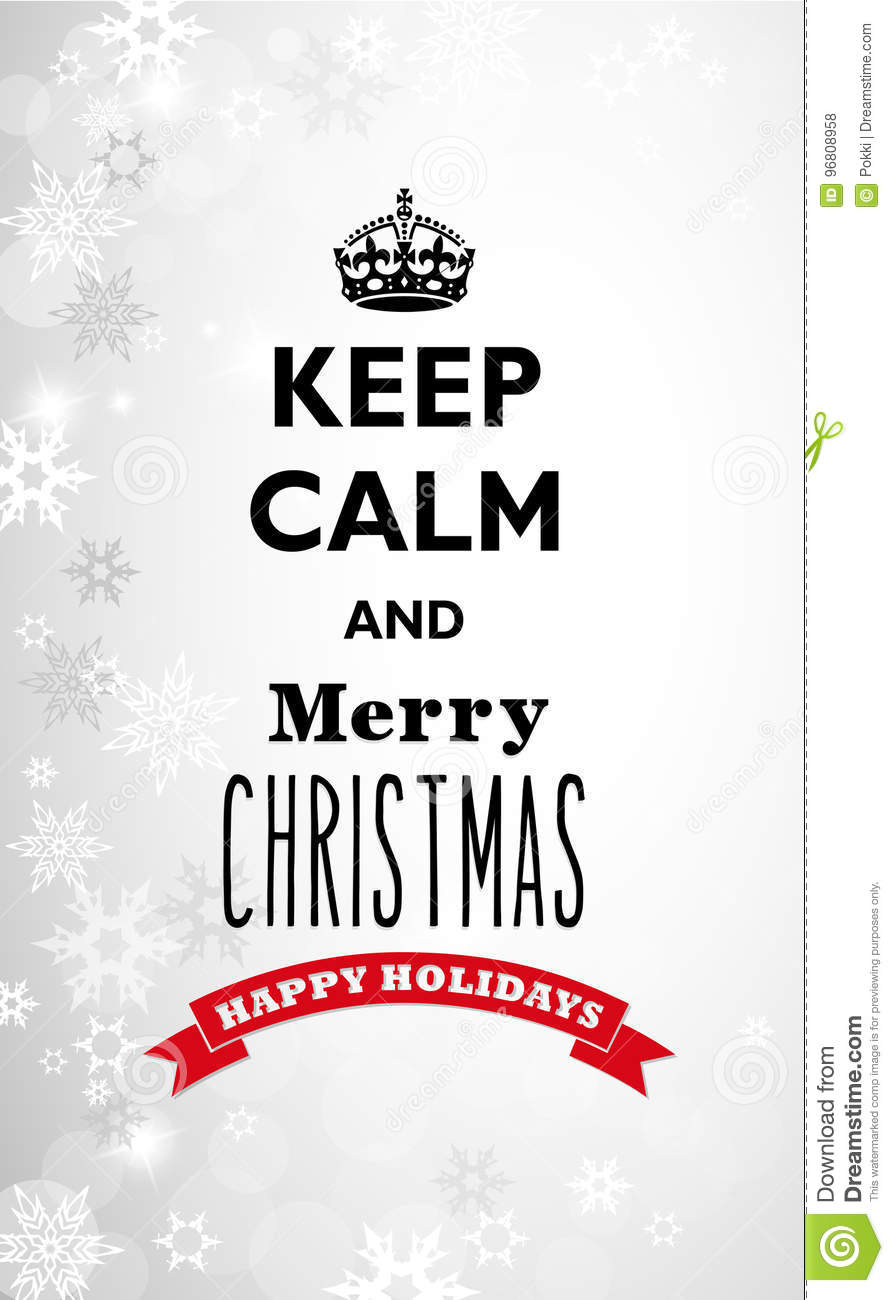 Traditional Keep Calm And Merry Christmas Quotation Stock Vector ...