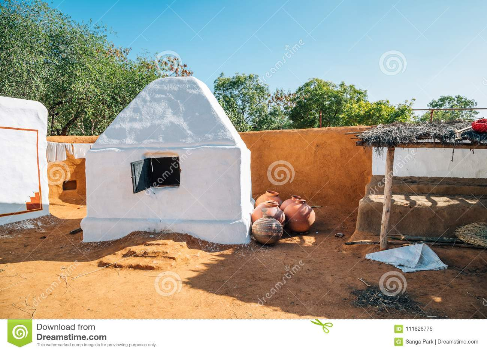 Traditional kiln at Indian folk village Shilpgram in Udaipur, India