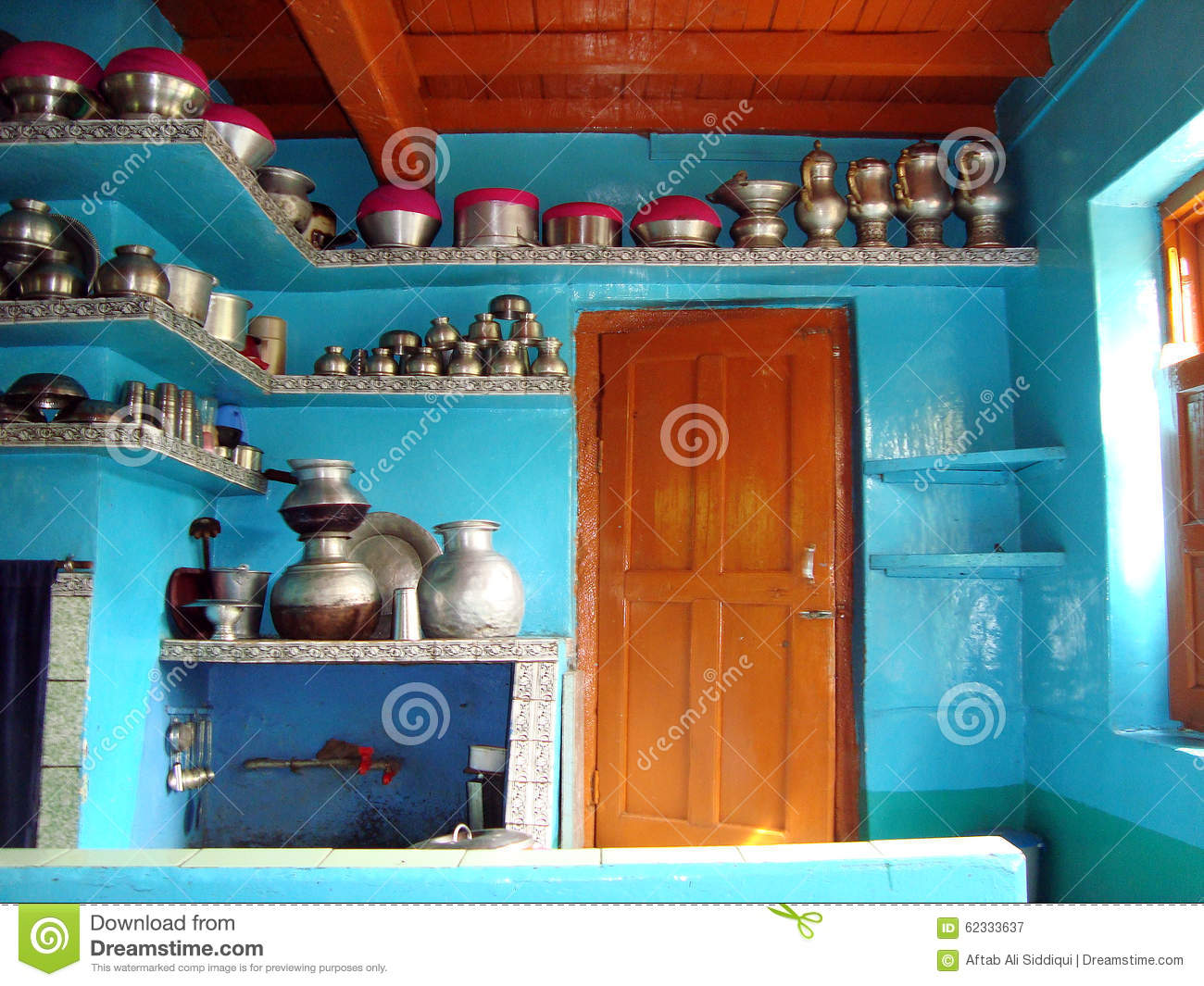 Traditional Kitchen Of Kashmiris Srinagar India Stock Image