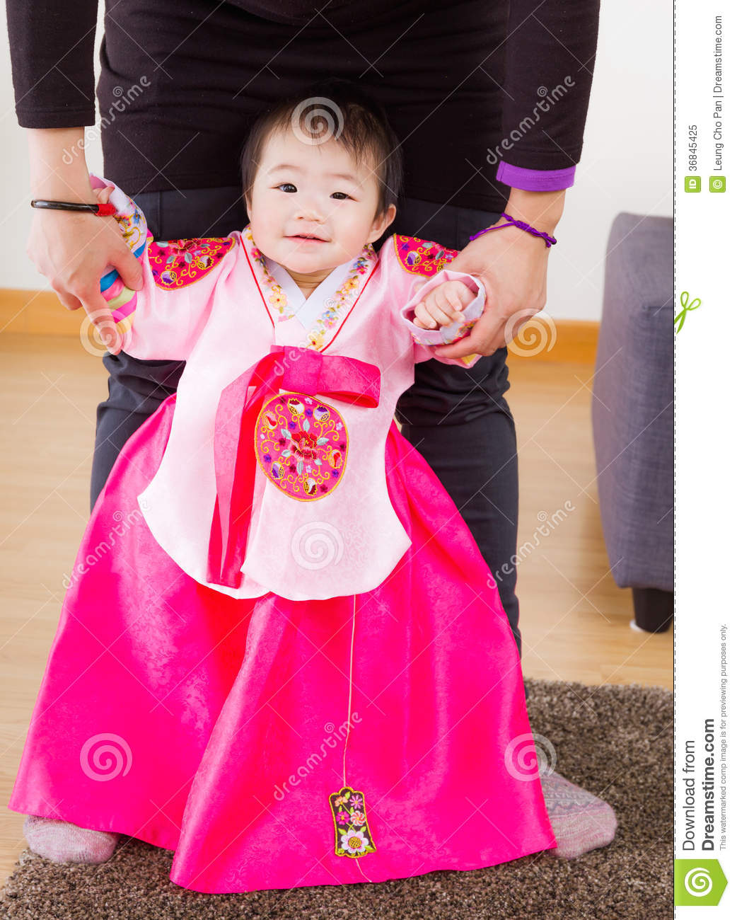 Traditional Korean Costume Baby Try To Stand Up Stock