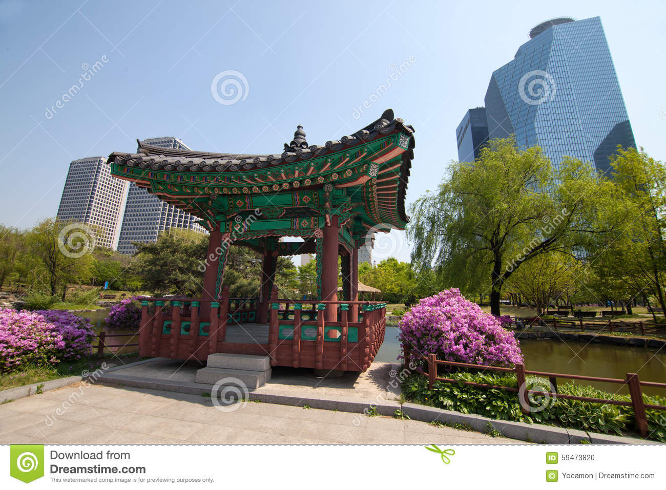 ^ raditional Korean House In Park In Seoul Stock Photo - Image ...