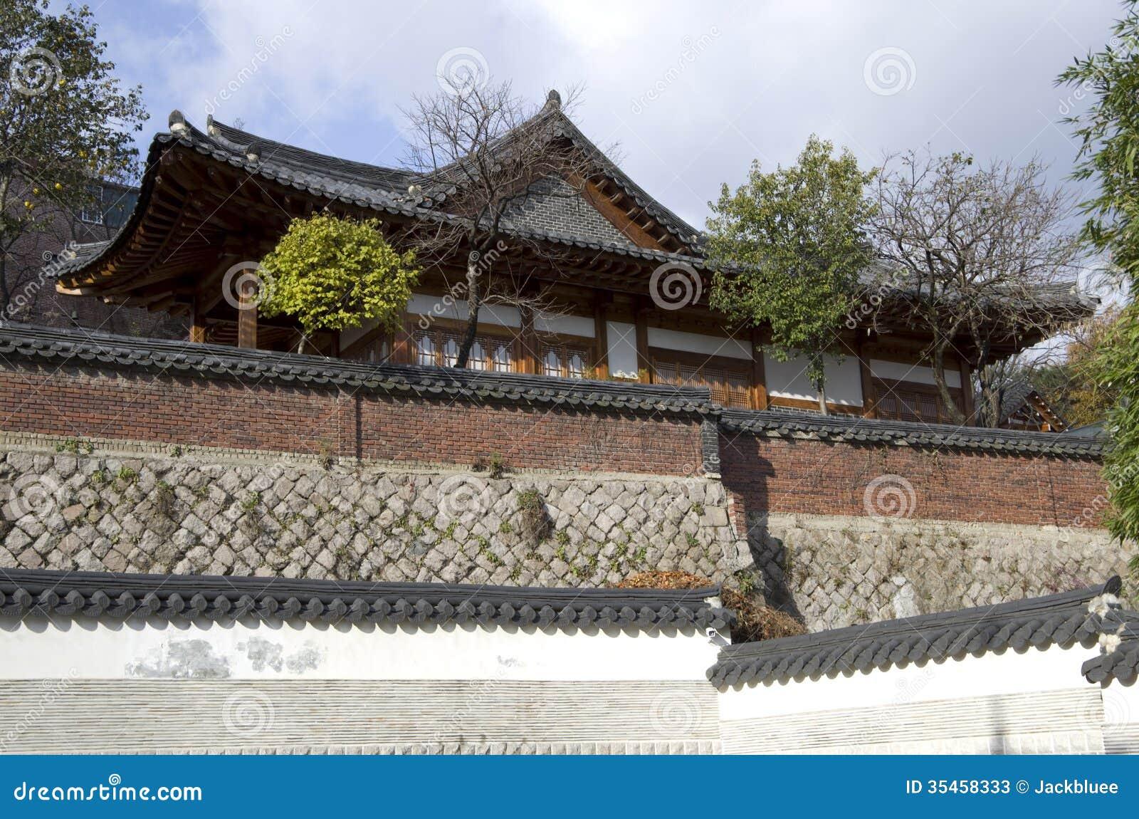 Traditional Korean House And Wall Stock Image Image