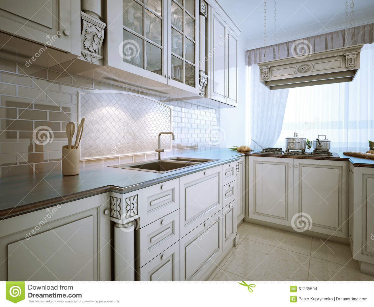 Download Traditional L-shaped Eat-in Kitchen Stock Illustration - Illustration of curtains & Traditional L-shaped Eat-in Kitchen Stock Illustration ...