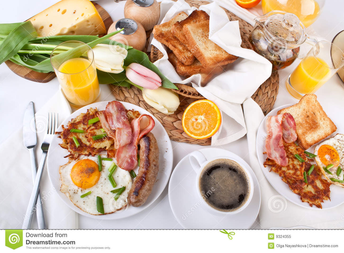 Traditional Large American Breakfast Royalty Free Stock Photo Image 9324355