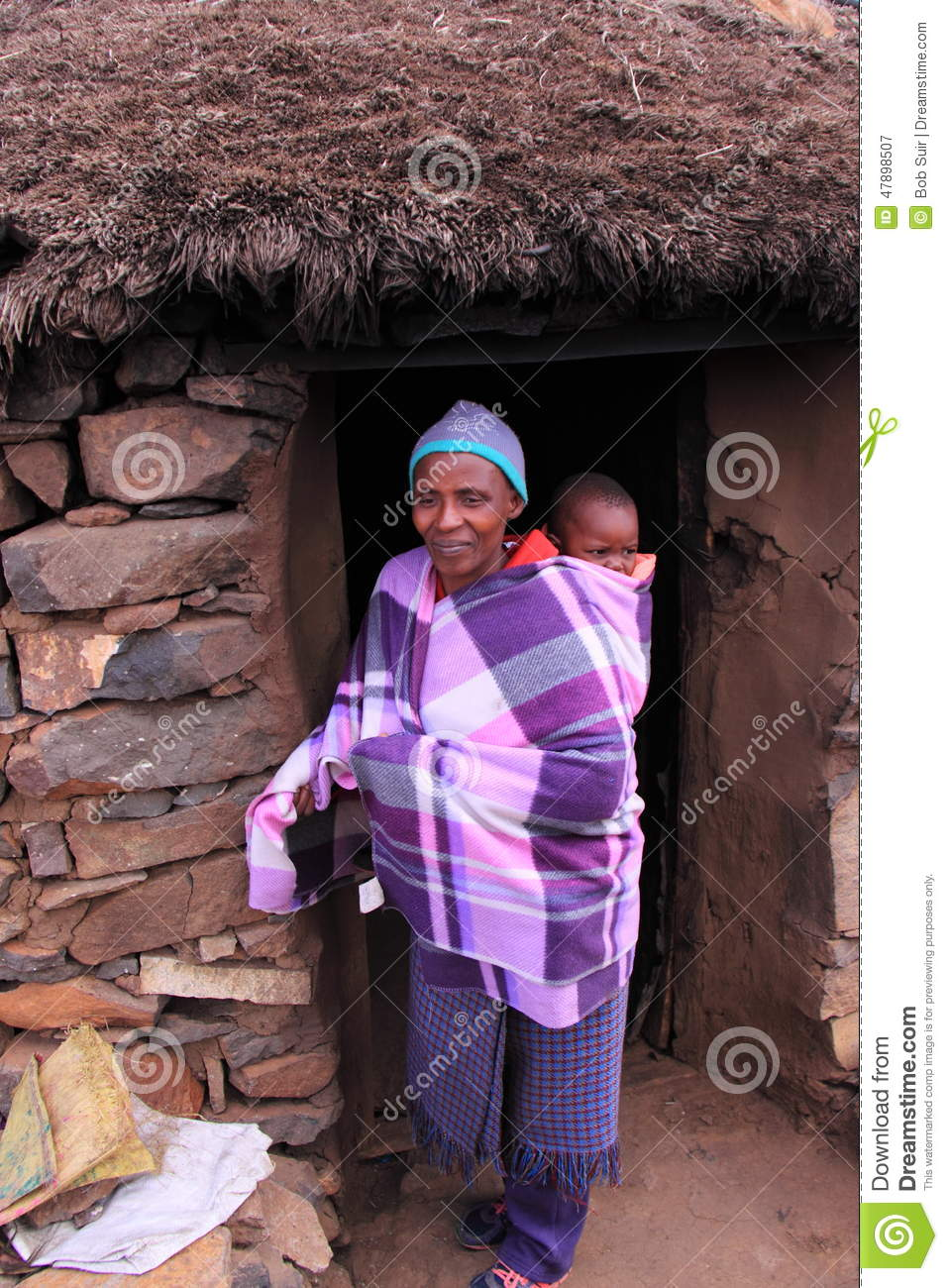 Traditional lesotho woman and child