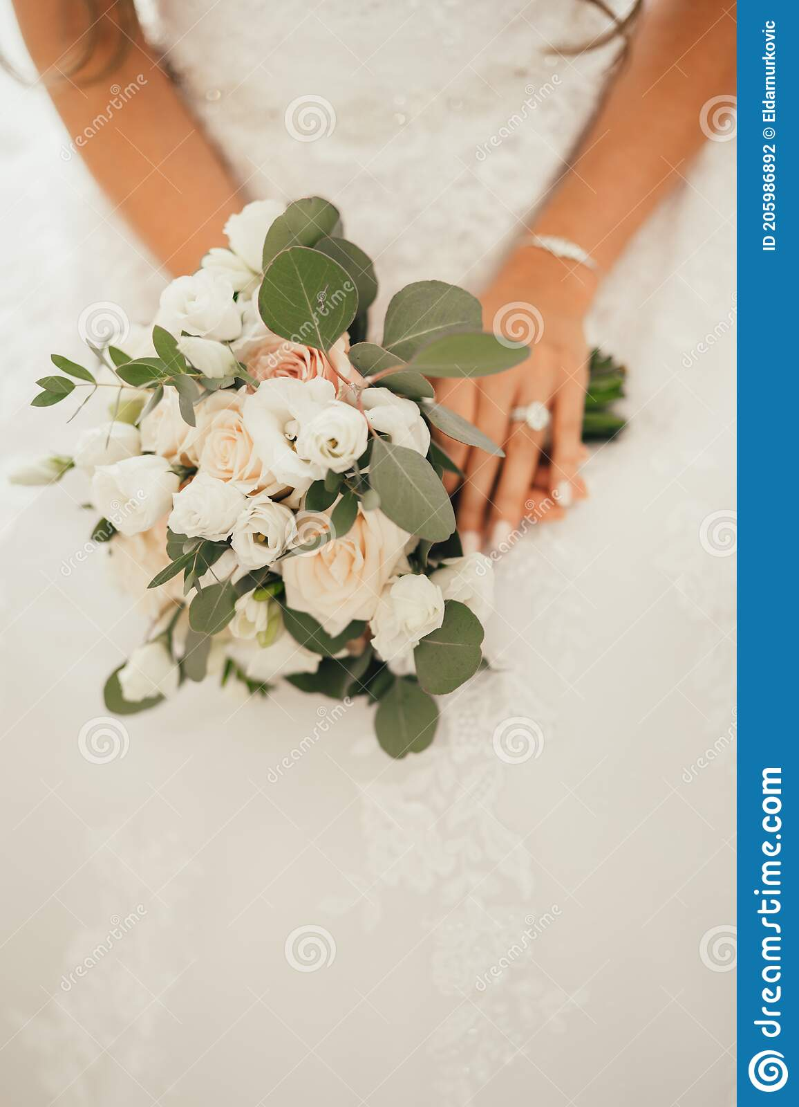 Traditional Light Pink And White Roses Arranged In A Bridal Bouquet Romantic Celebration Decoration Bride In Lace Wedding Dress Stock Photo Image Of Event Couple 205986892