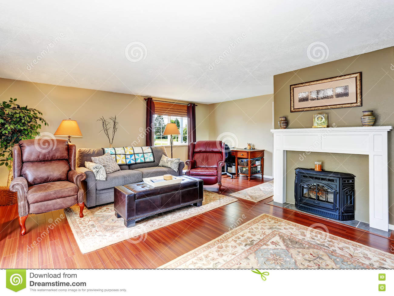 Traditional Living Room Interior With Fireplace Hardwood