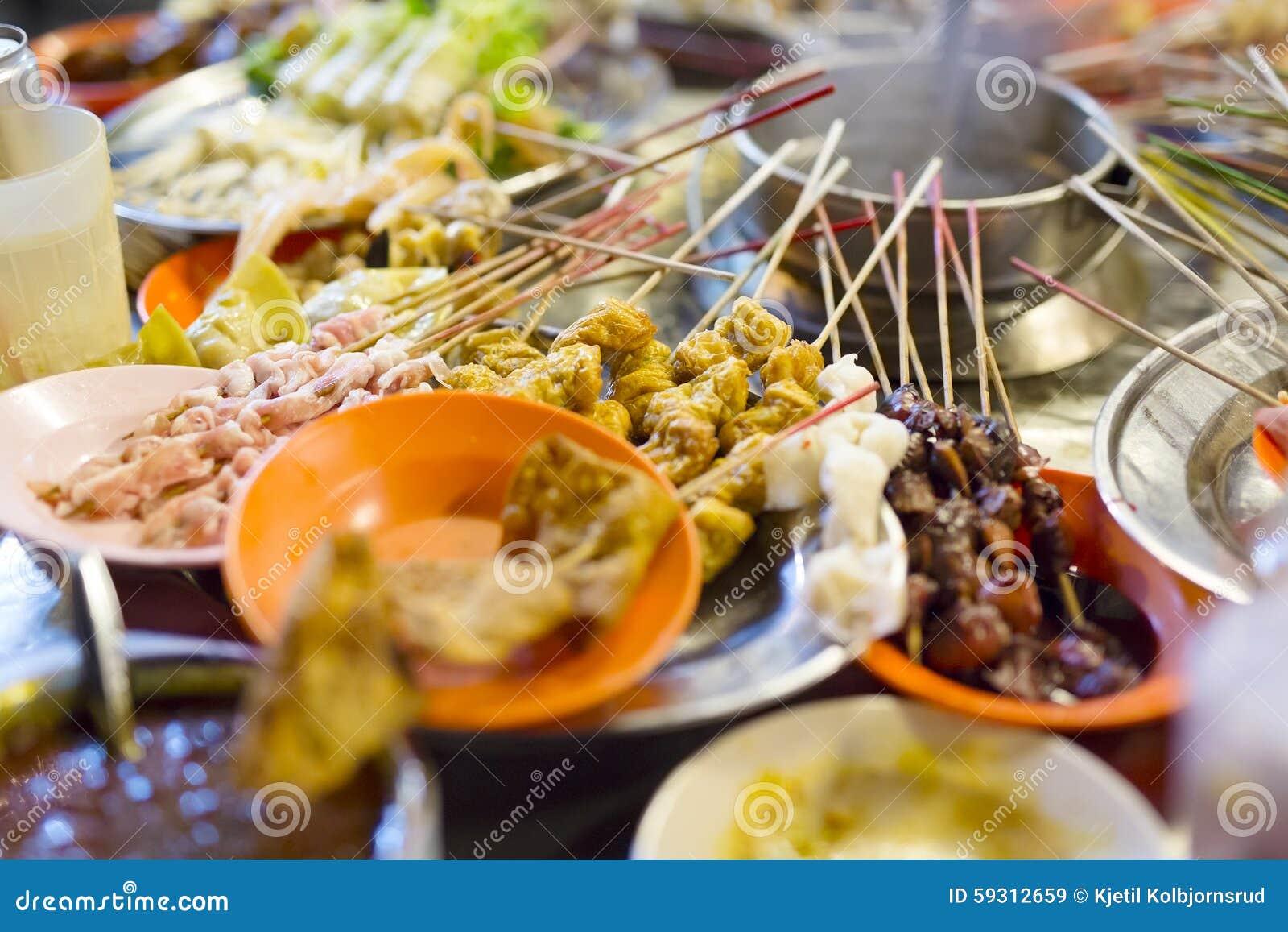 Traditional lok-lok street food from Malaysia