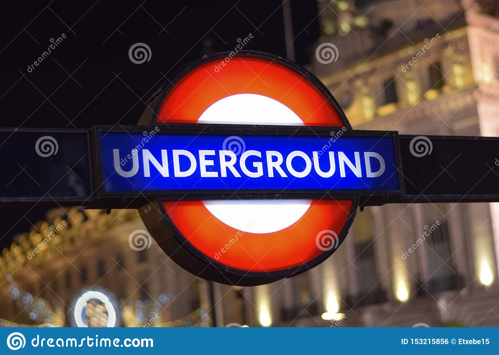 Traditional London Underground Sign in the Street of London