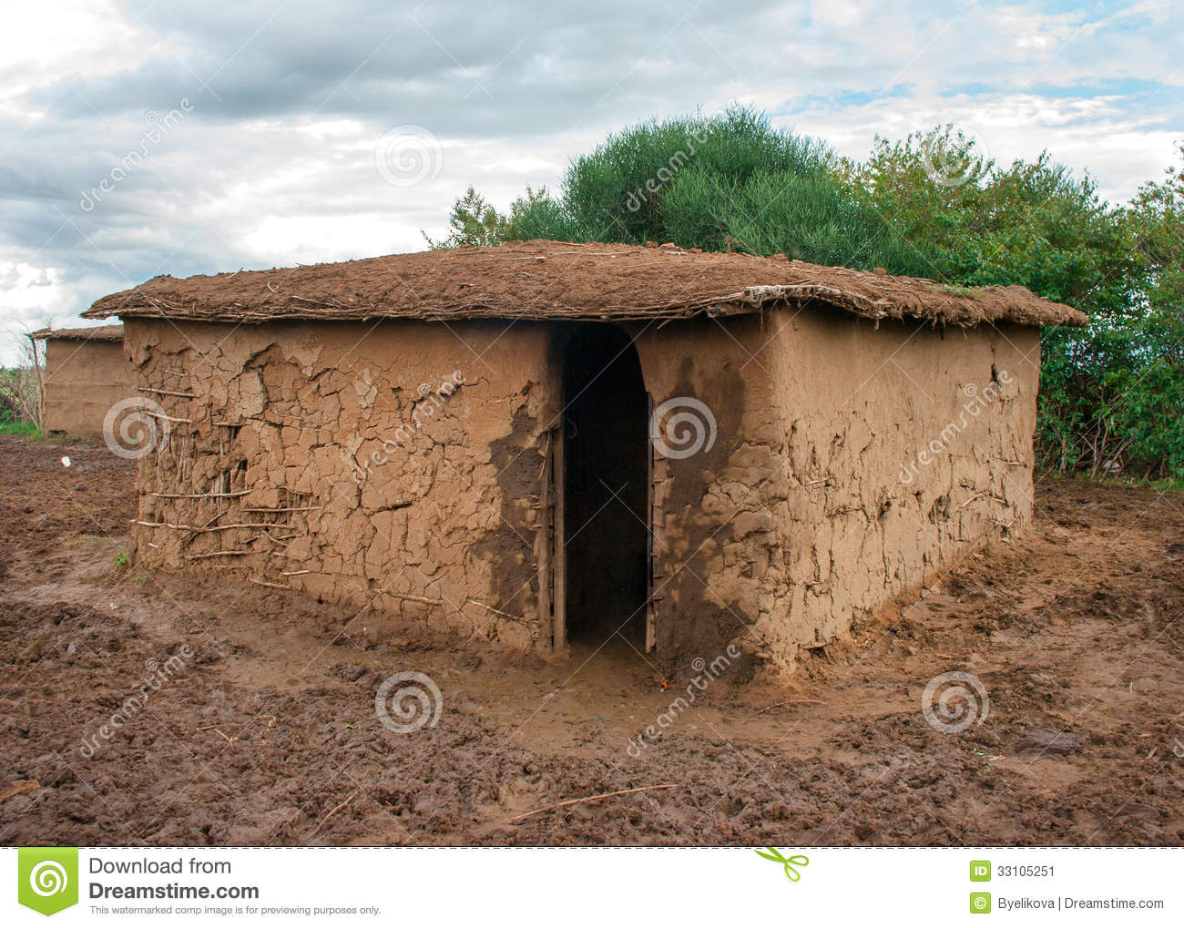 Traditional Maasai Hut Kenya Stock Image Image 33105251