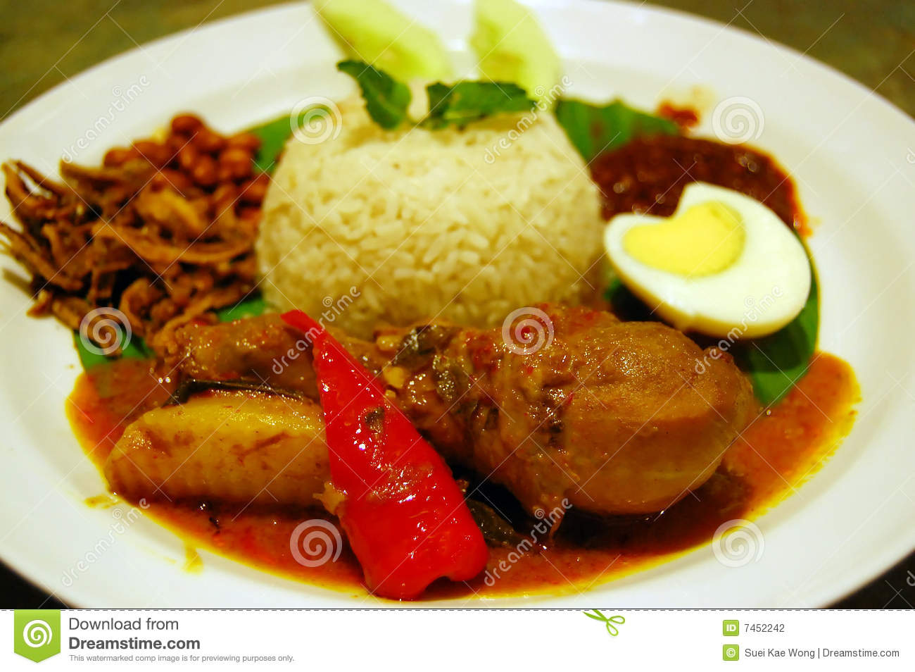Traditional Malaysia Spicy Coconut Rice Nasi Lemak