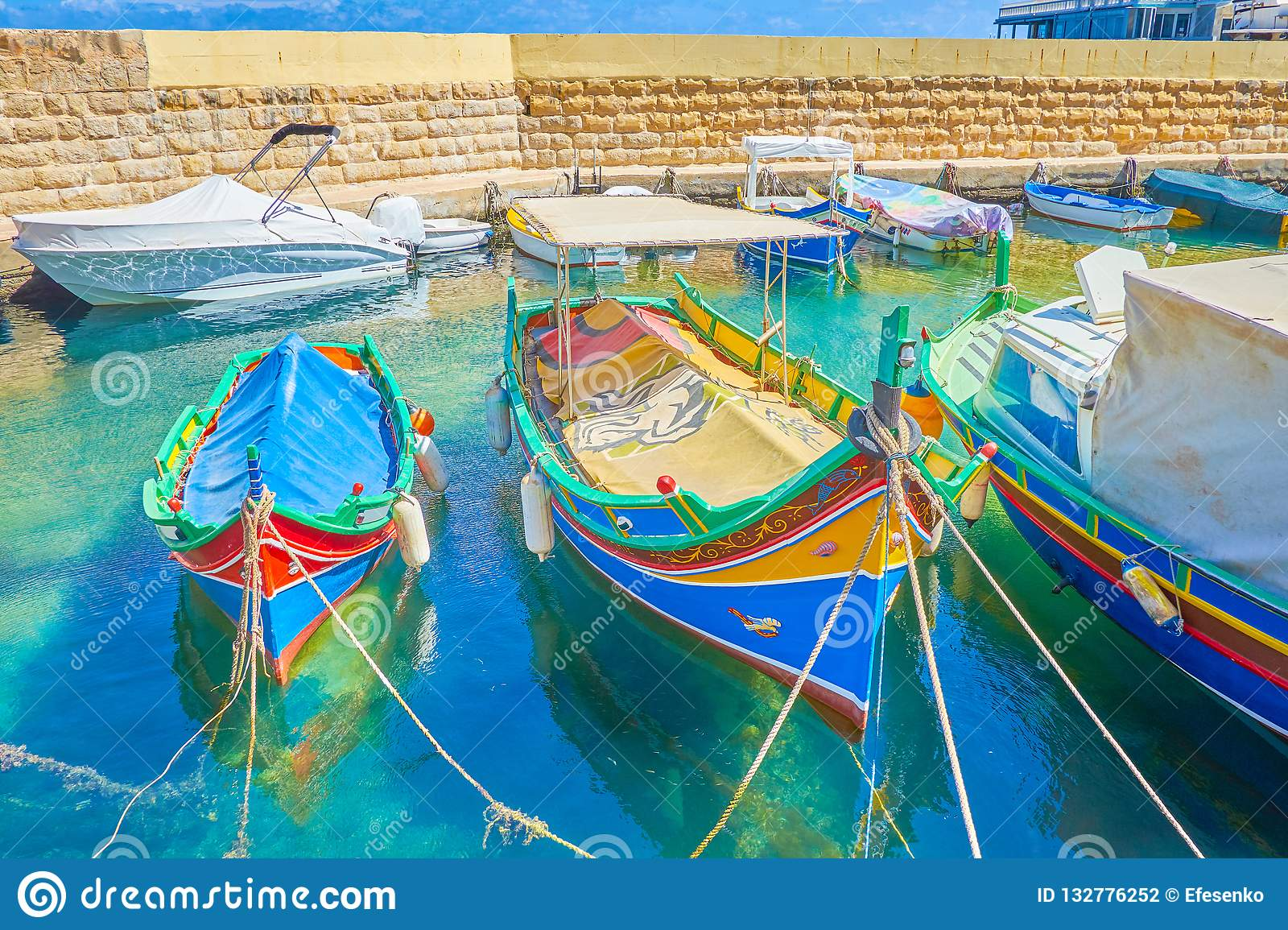 The Maltese colorful wooden luzzu boats, Bugibba
