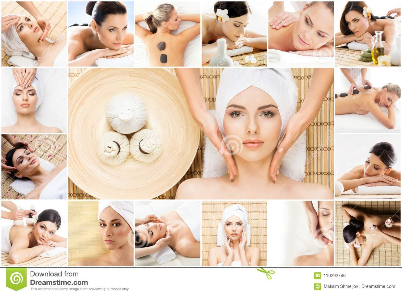 Traditional massage and healthcare treatment in spa. Young, beautiful and healthy girls having therapy. Collage