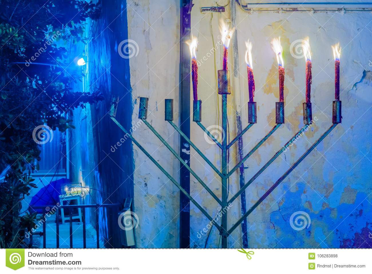 Hanukkah 2017 In Safed Tzfat Stock Photo Image Of Candlelight