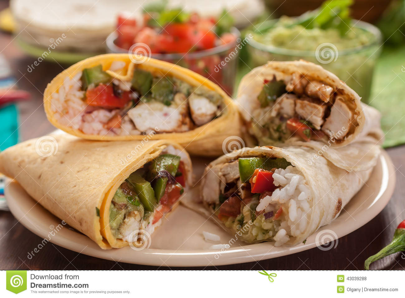 Dinner table with mexican food - Traditional Mexican Burrito Stock Photo Image 43039288