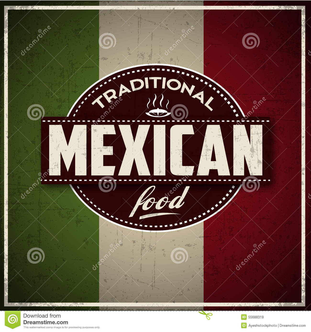 Traditional Mexican Food Grunge Banner Stock Illustration