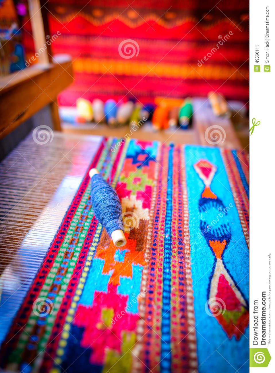 Traditional Mexican Weaving On A Loom