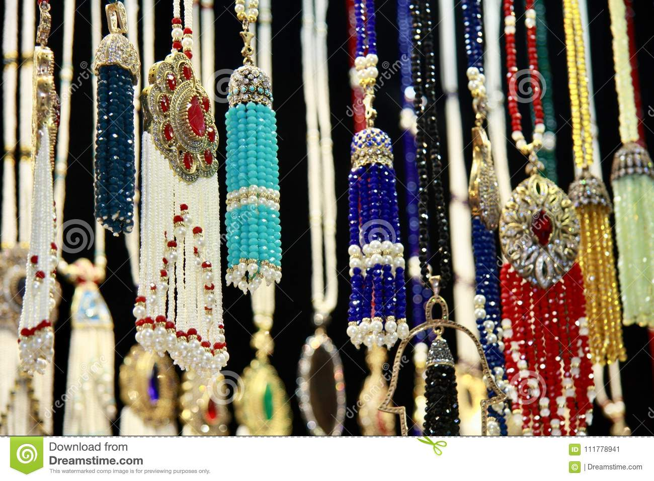 Traditional middle eastern jevellery on Grand Bazaar, Istanbul, Turkey.