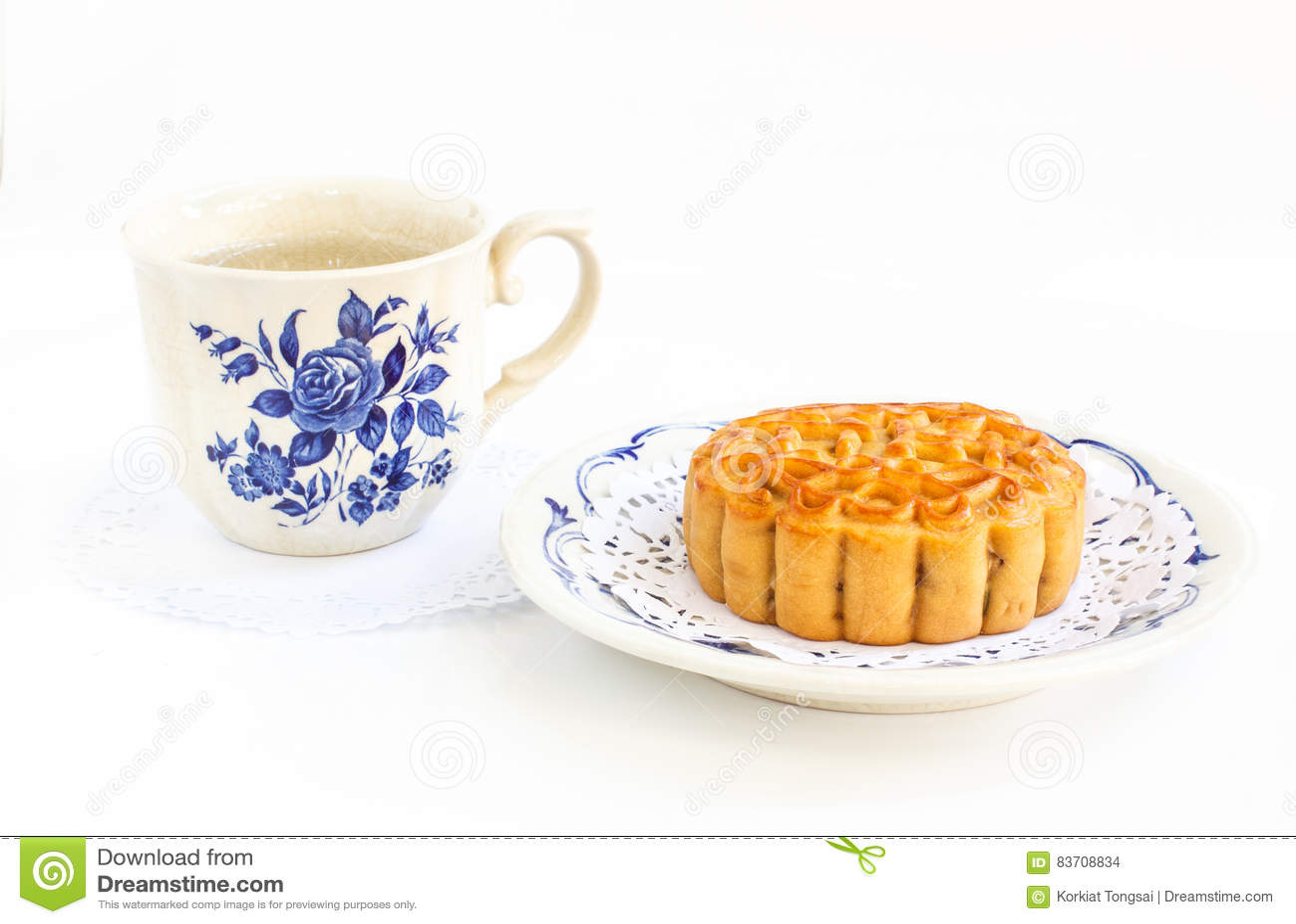 Traditional Mooncake And Tea Stock Photo