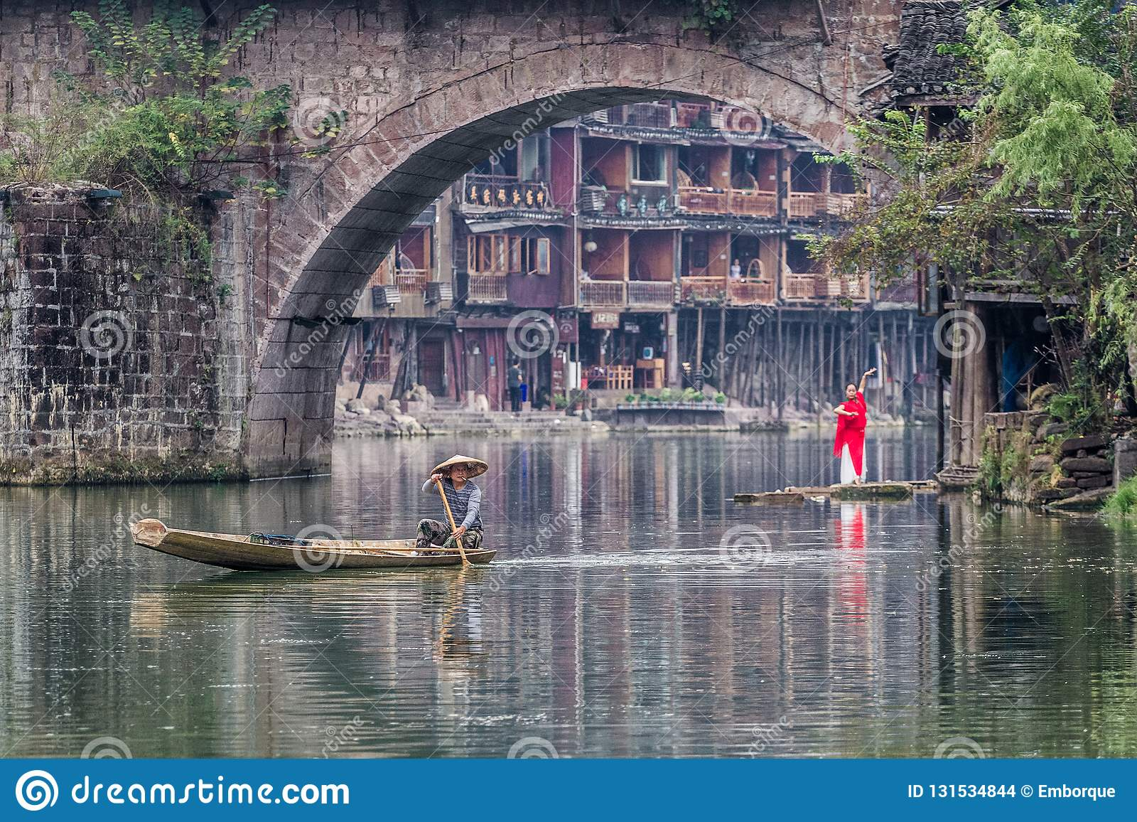 Traditional morning activity in Fenghuang