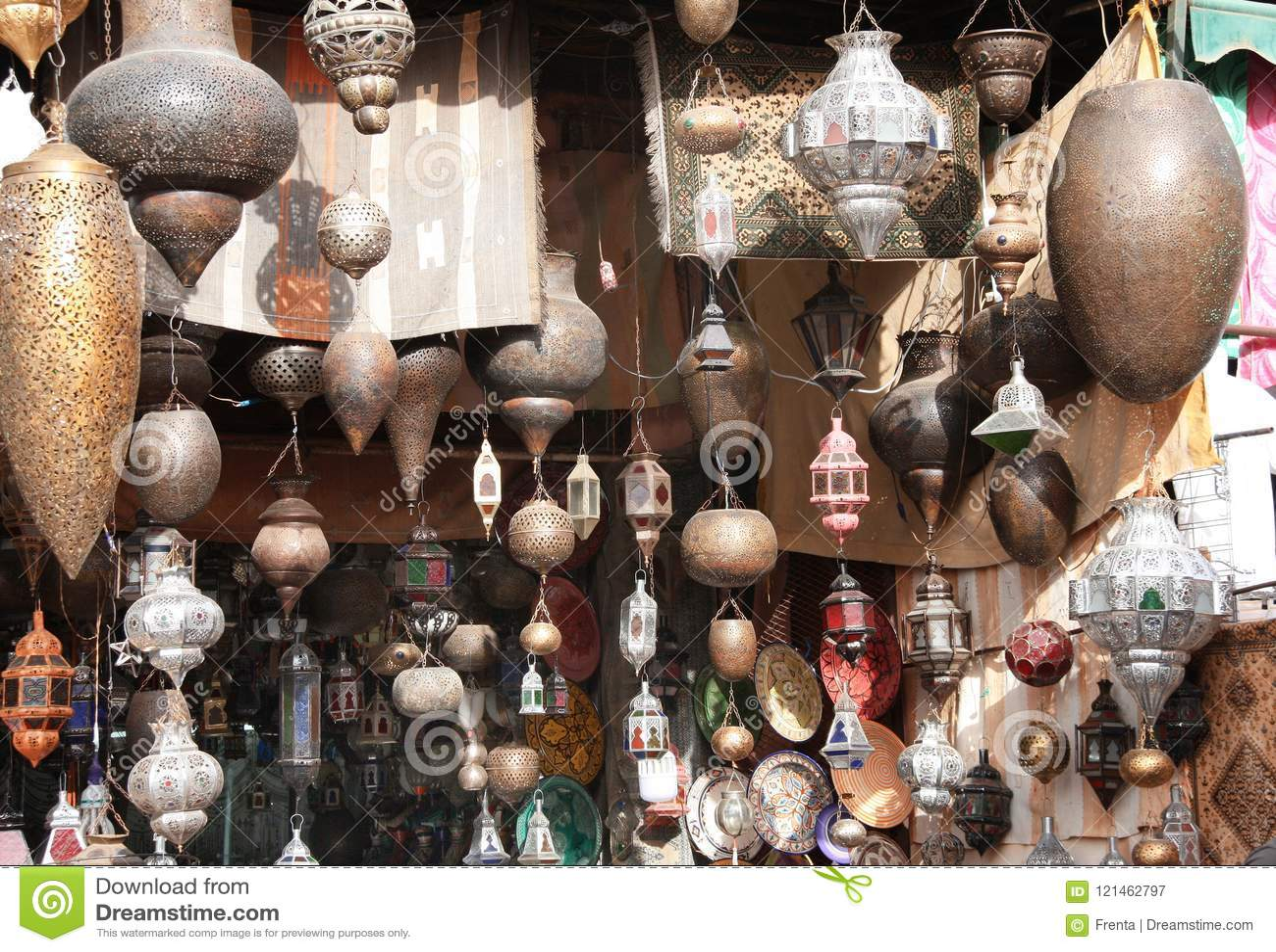 Traditional Moroccan Lanterns, Street Market, Morocco Stock Image