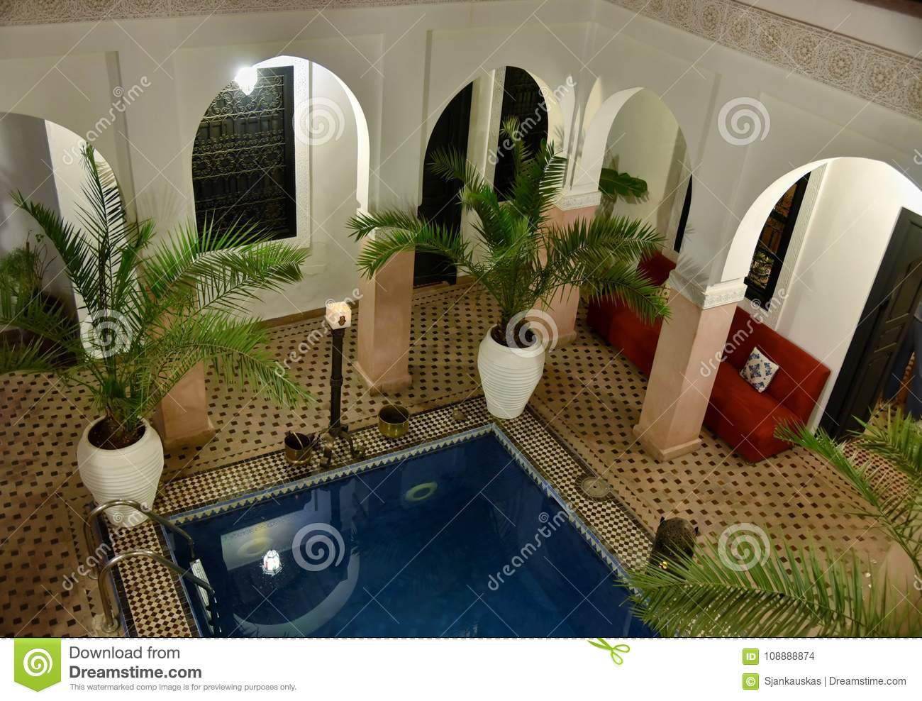 Traditional Moroccan Riad Interior With A Pool Stock Photo - Image ...