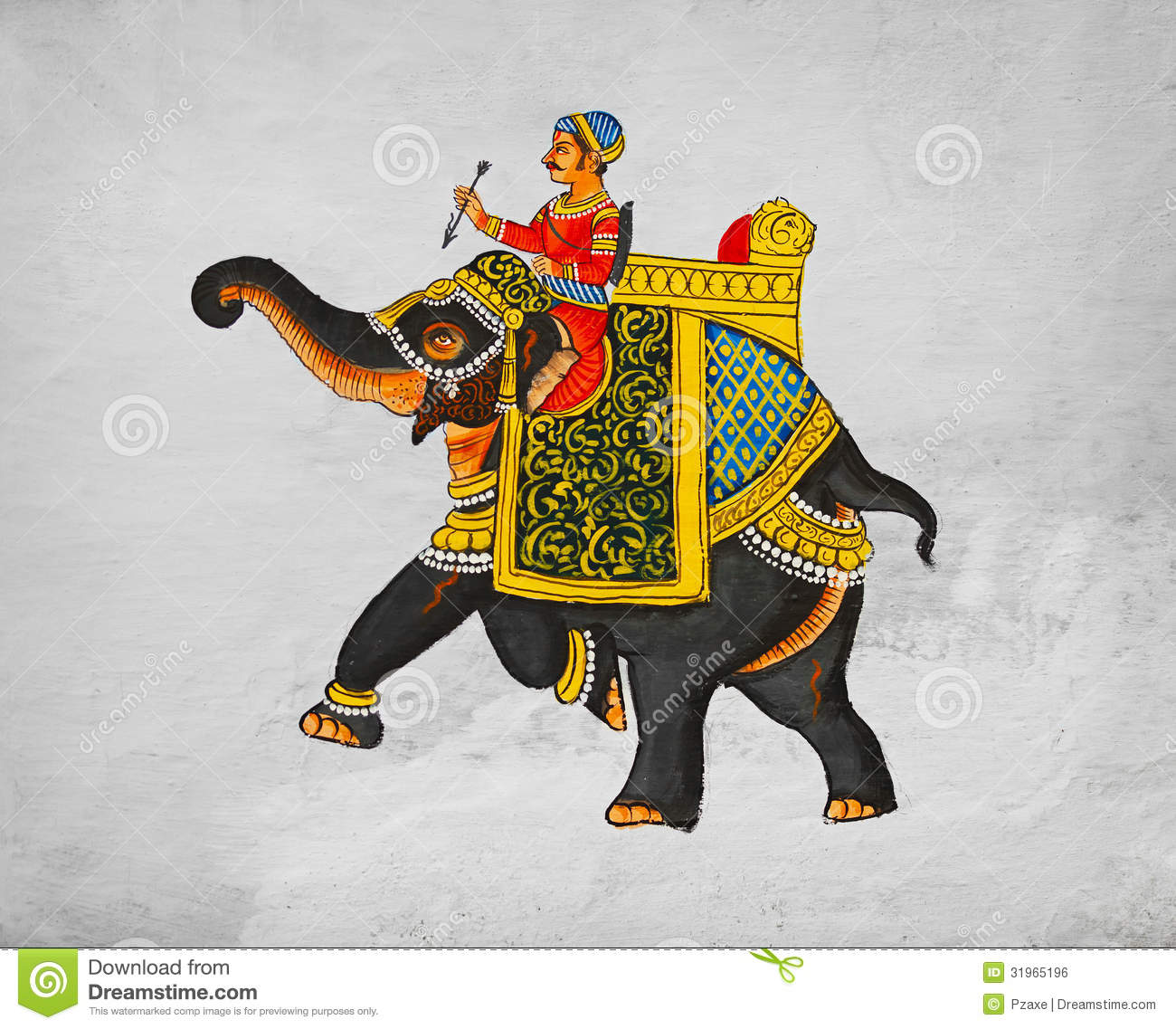 Traditional mural - image of maharaja of riding on an elephant.