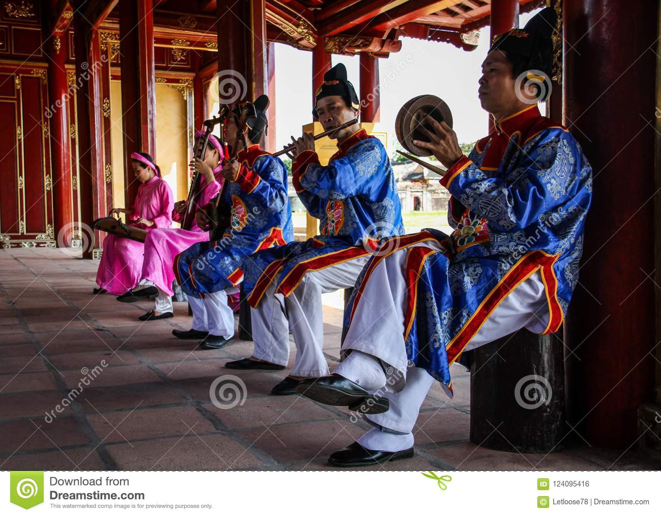 Traditional music players in the Imperial City of Hue, Thua Thien-Hue, Hue, Vietnam