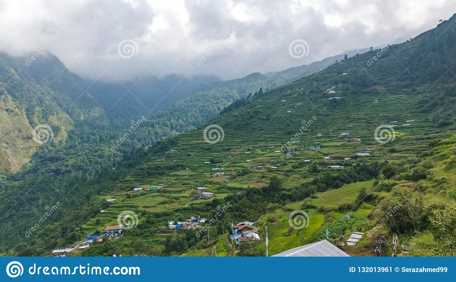 Traditional Nepalese village in mountains