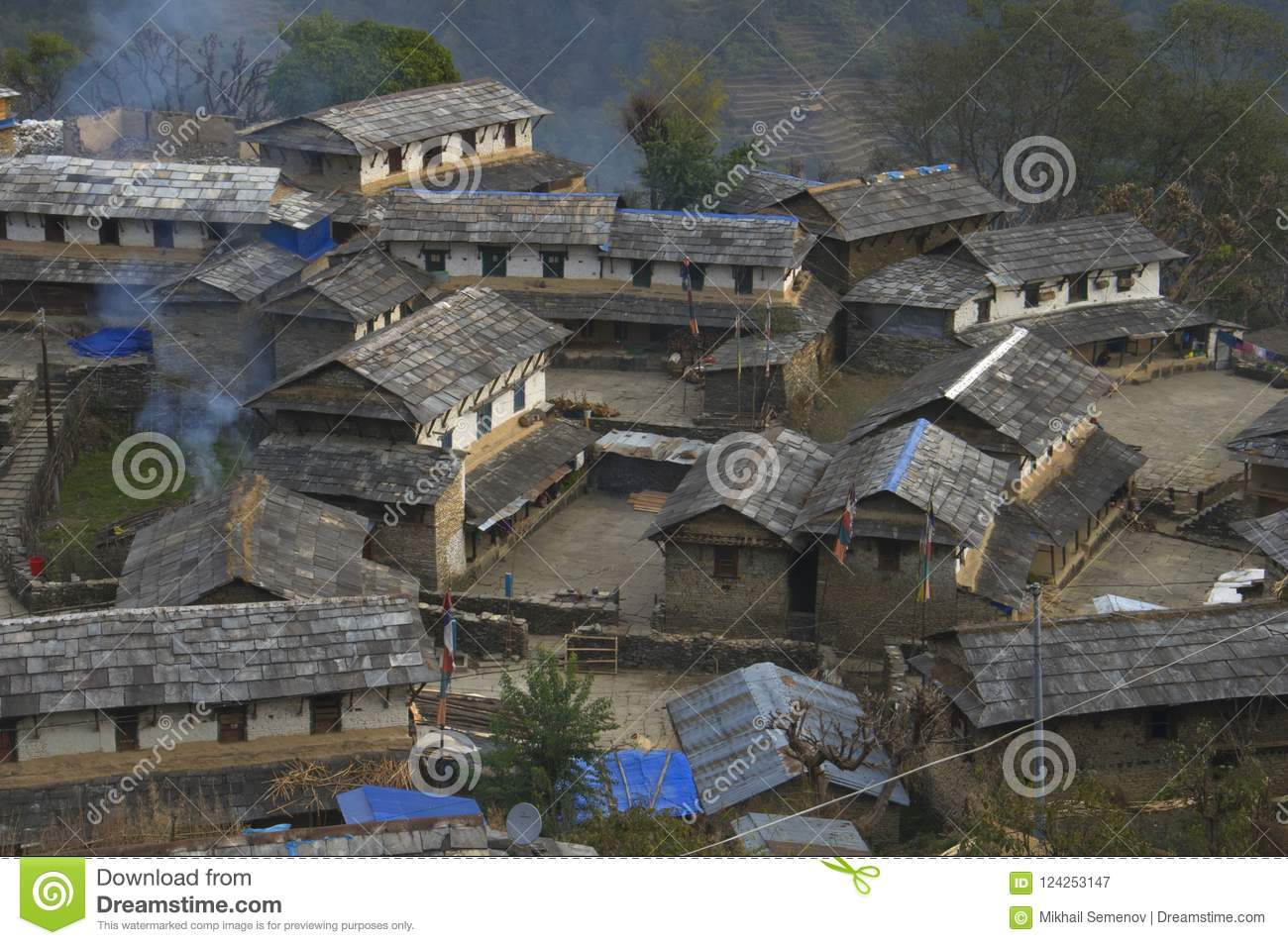 Traditional Nepalese village. Trekking to Annapurna Base Camp