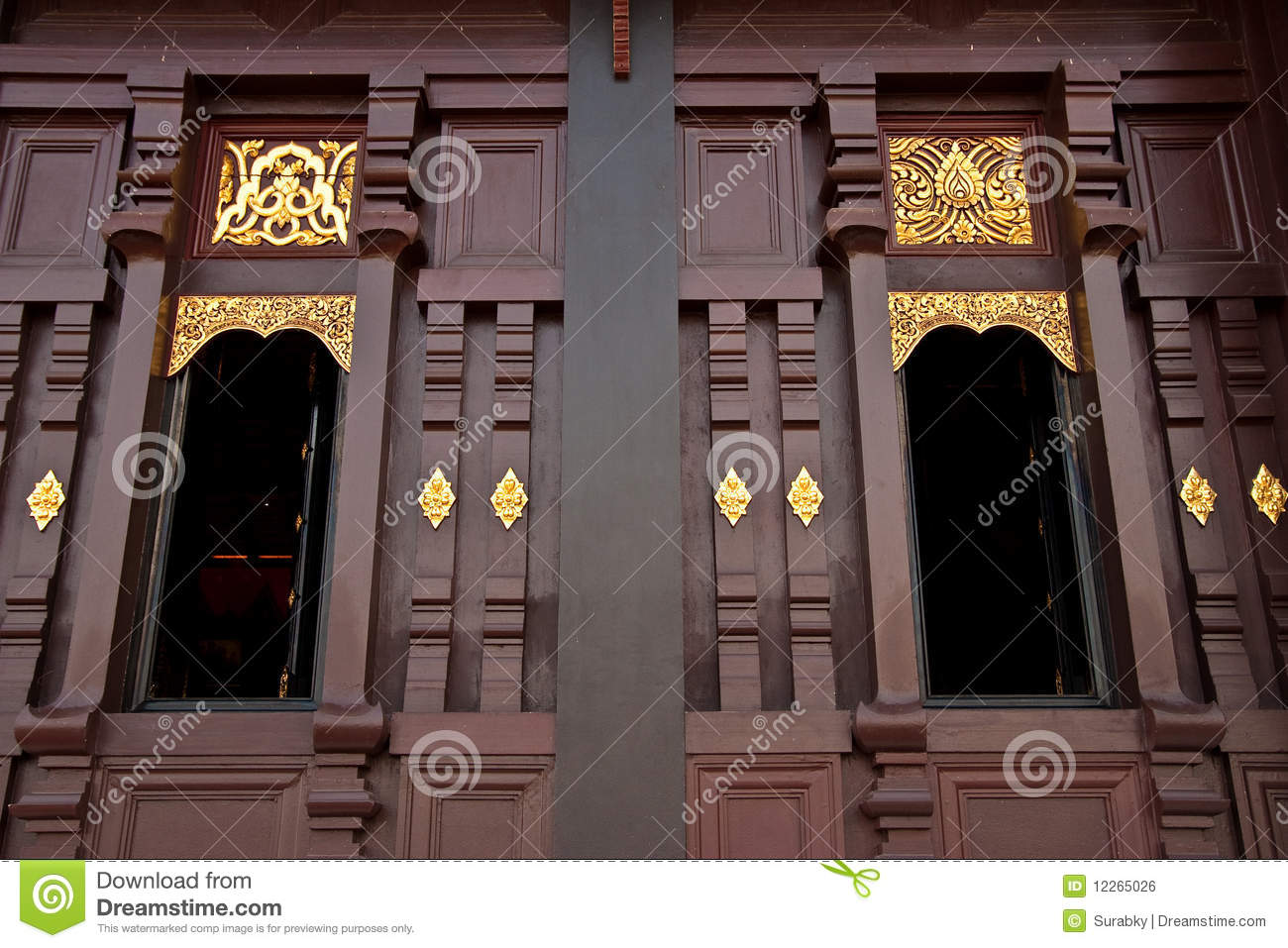 traditional northern thai style house window royalty free