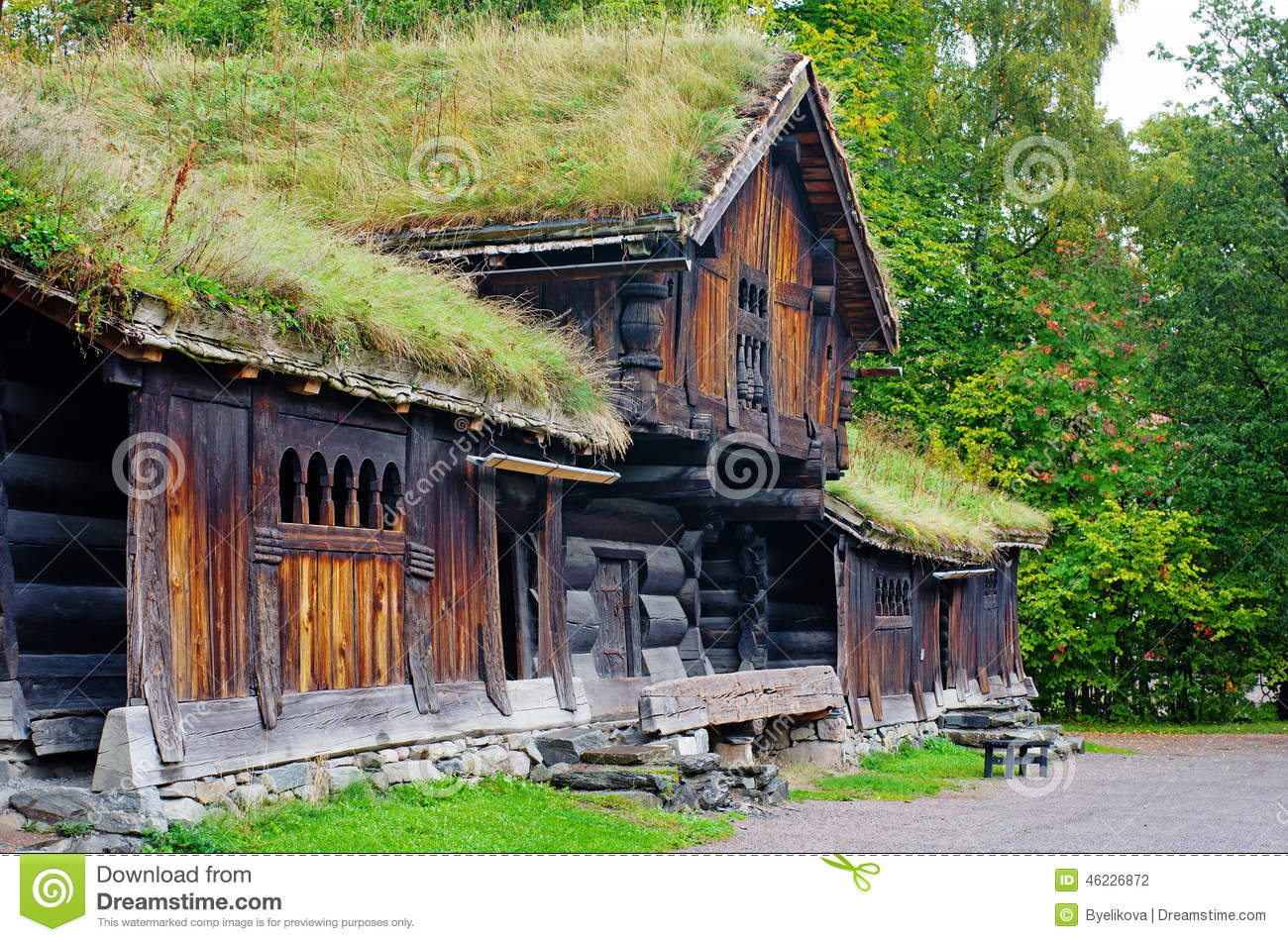Traditional norwegian house with grass roof the norwegian museum stock photo image of built - Traditional houses attic ...