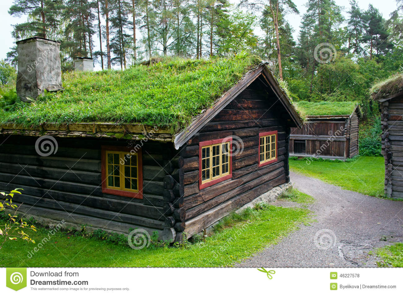 Traditional norwegian house with grass roof the norwegian museum stock photo image 46227578 - Traditional houses attic ...