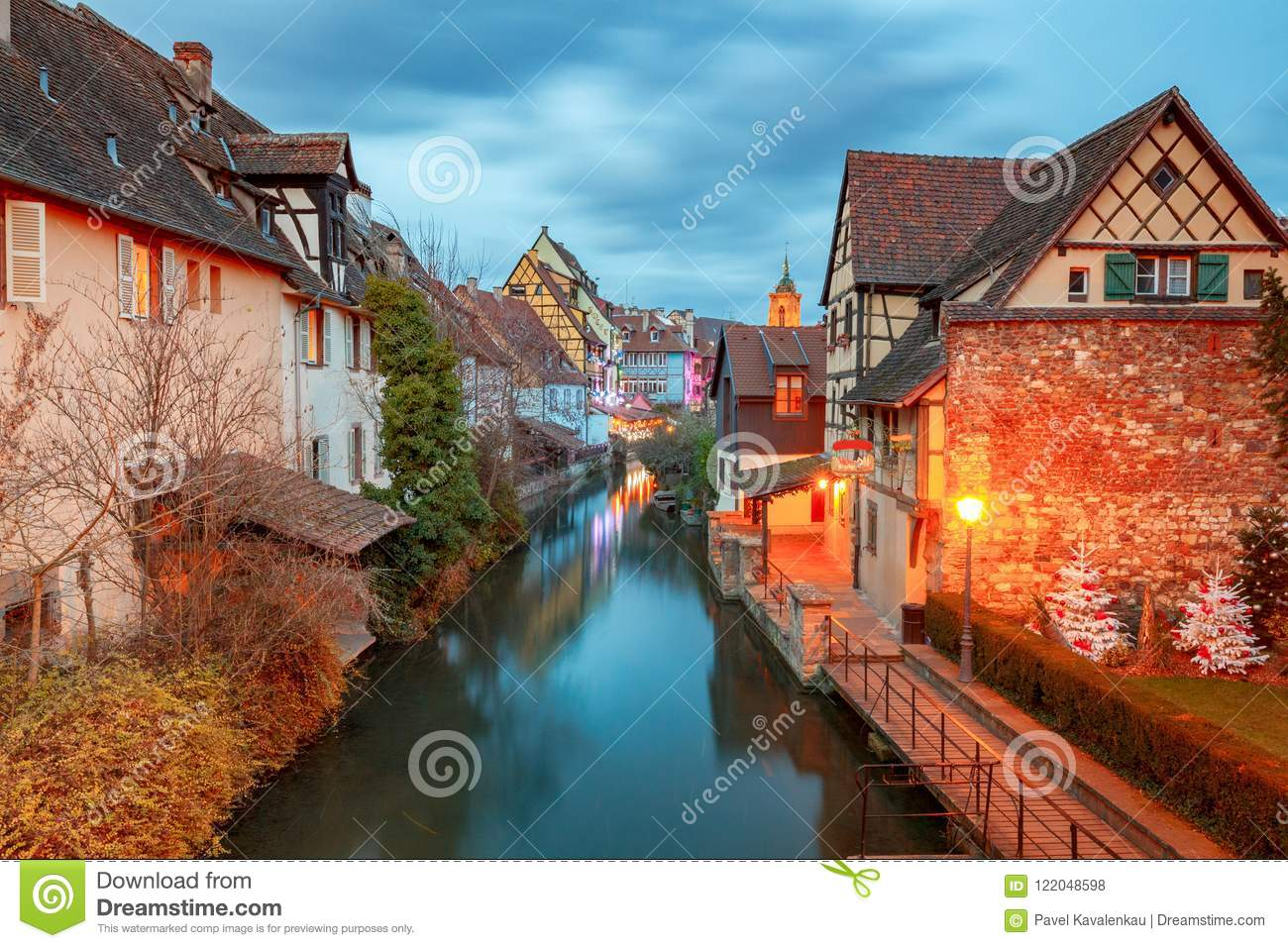 traditional old half timbered houses in the historic city of colmar decorated and lighted during the christmas season alsace france