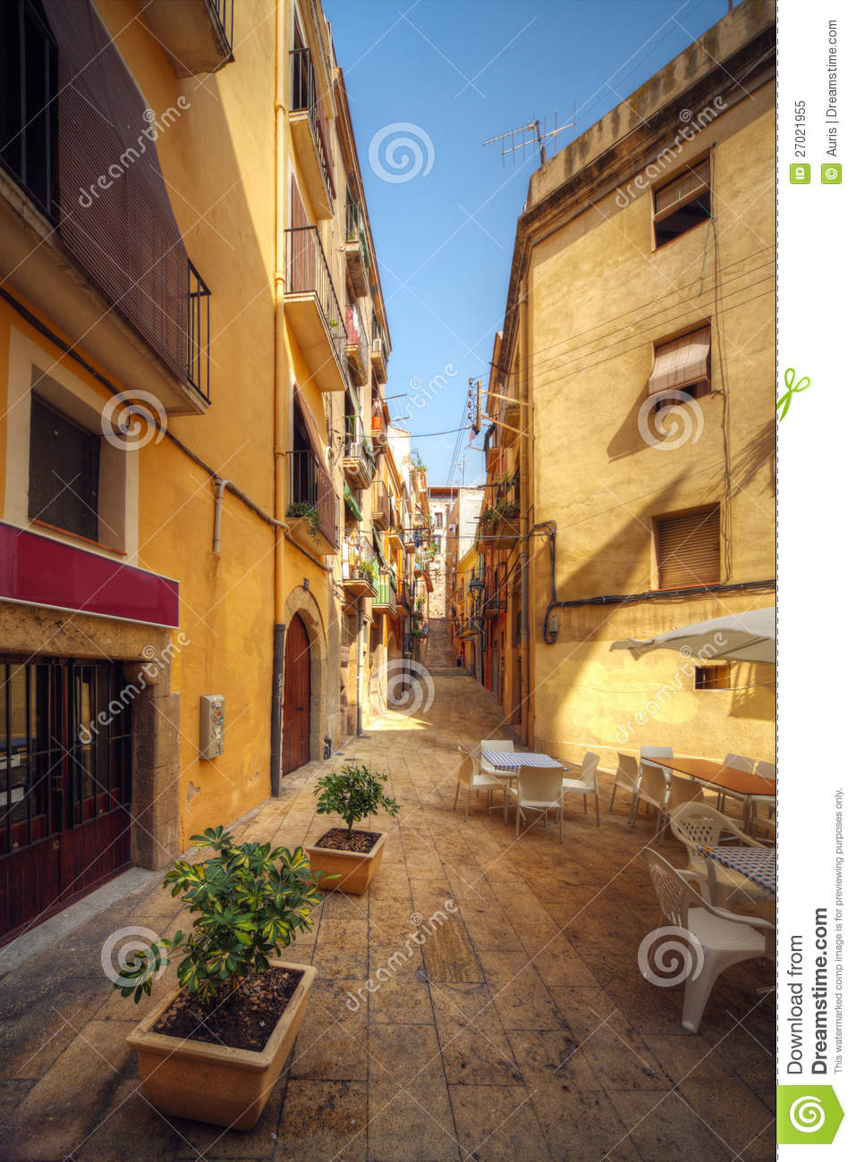 Traditional Old Spanish Street Stock Image