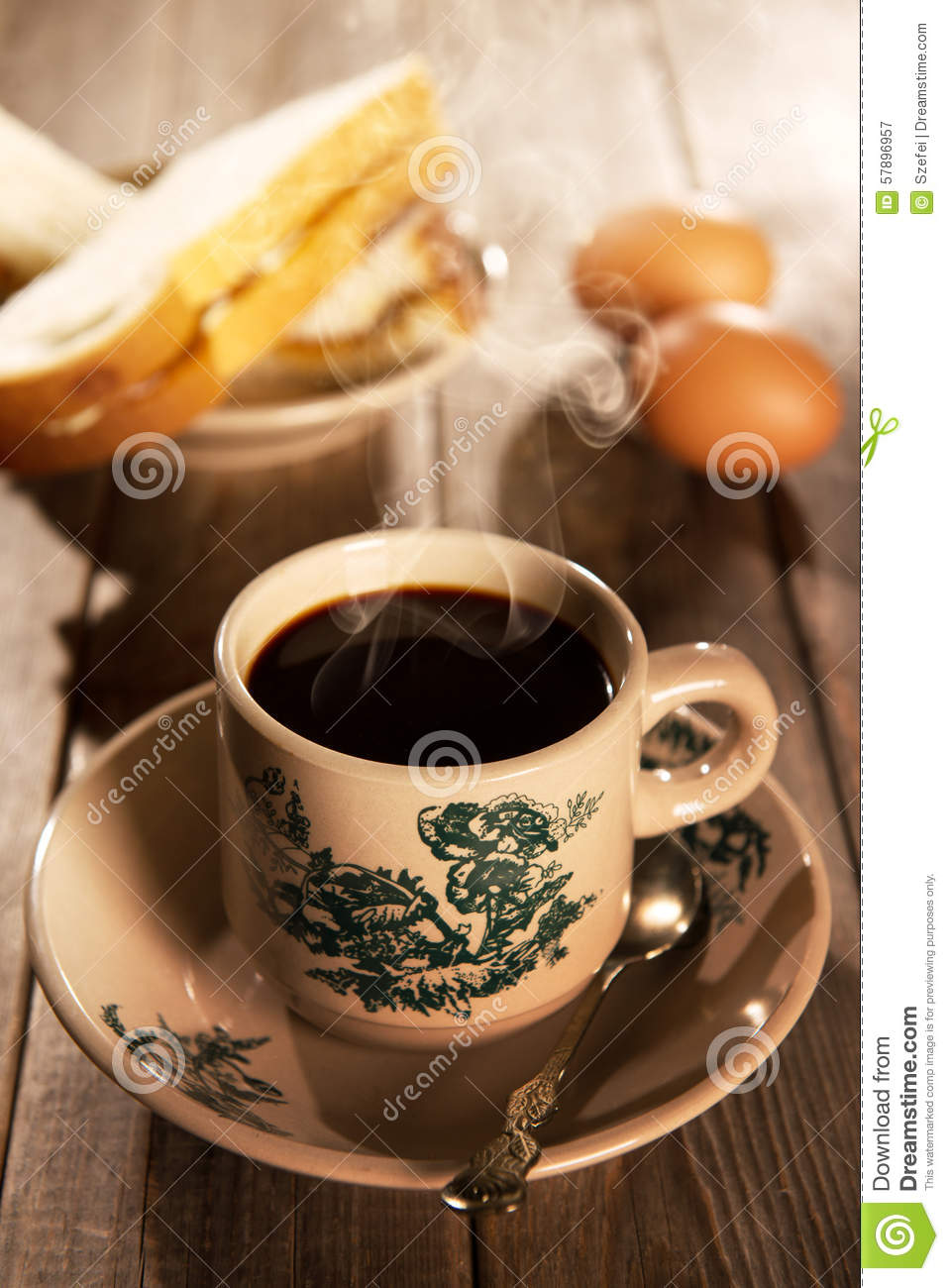 Traditional Oriental Chinese Coffee And Breakfast Stock