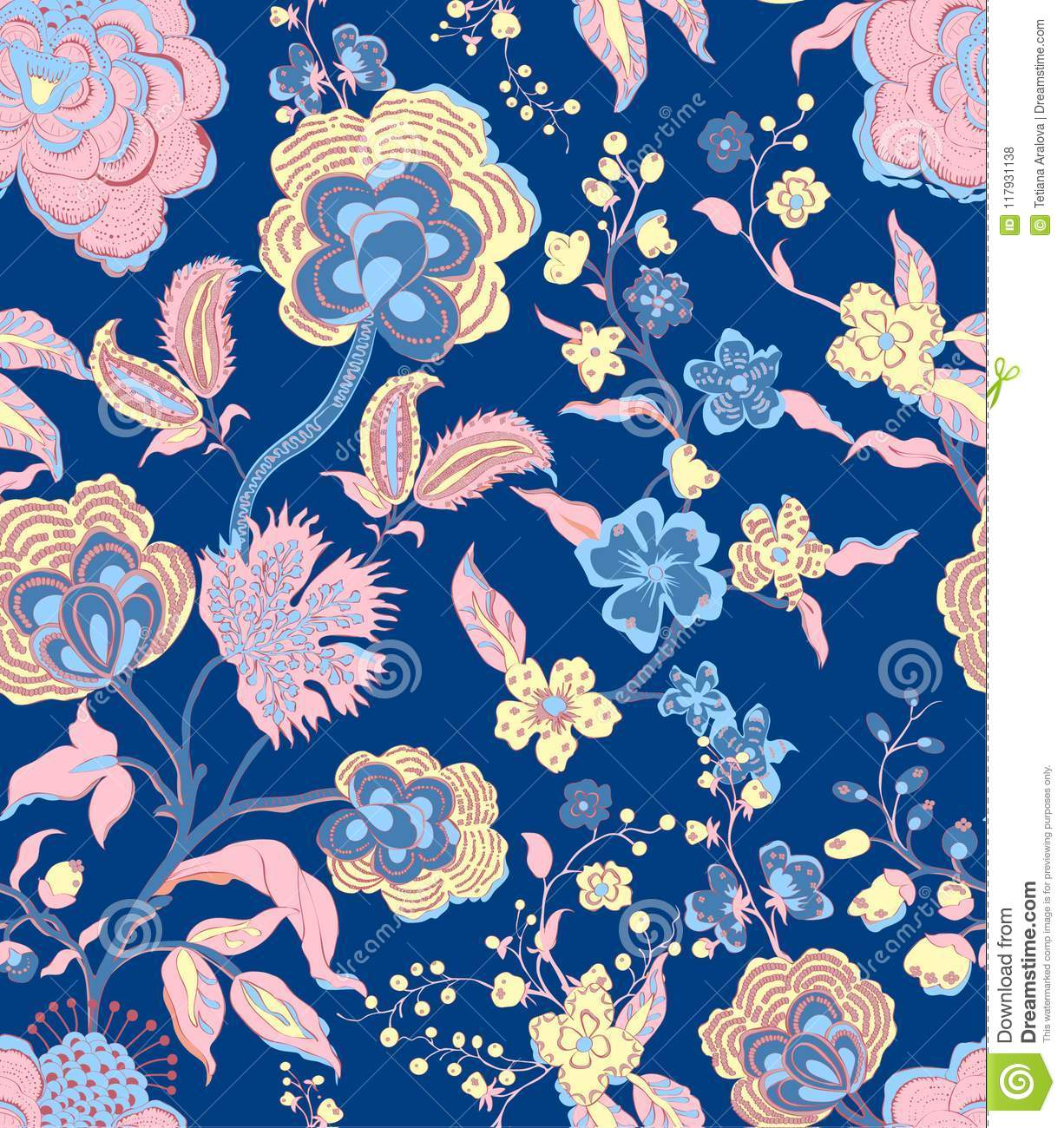 Traditional Oriental Seamless Floral Pattern Vintage Flowers