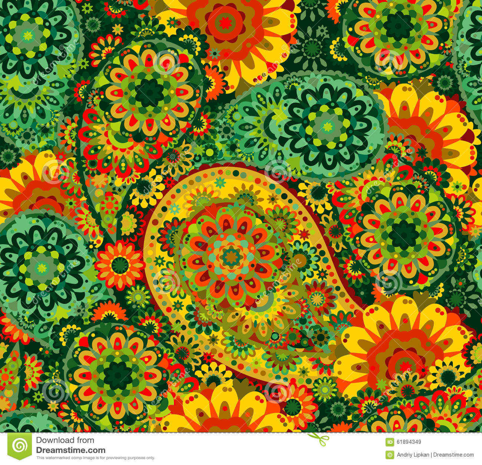 Traditional oriental seamless paisley pattern.
