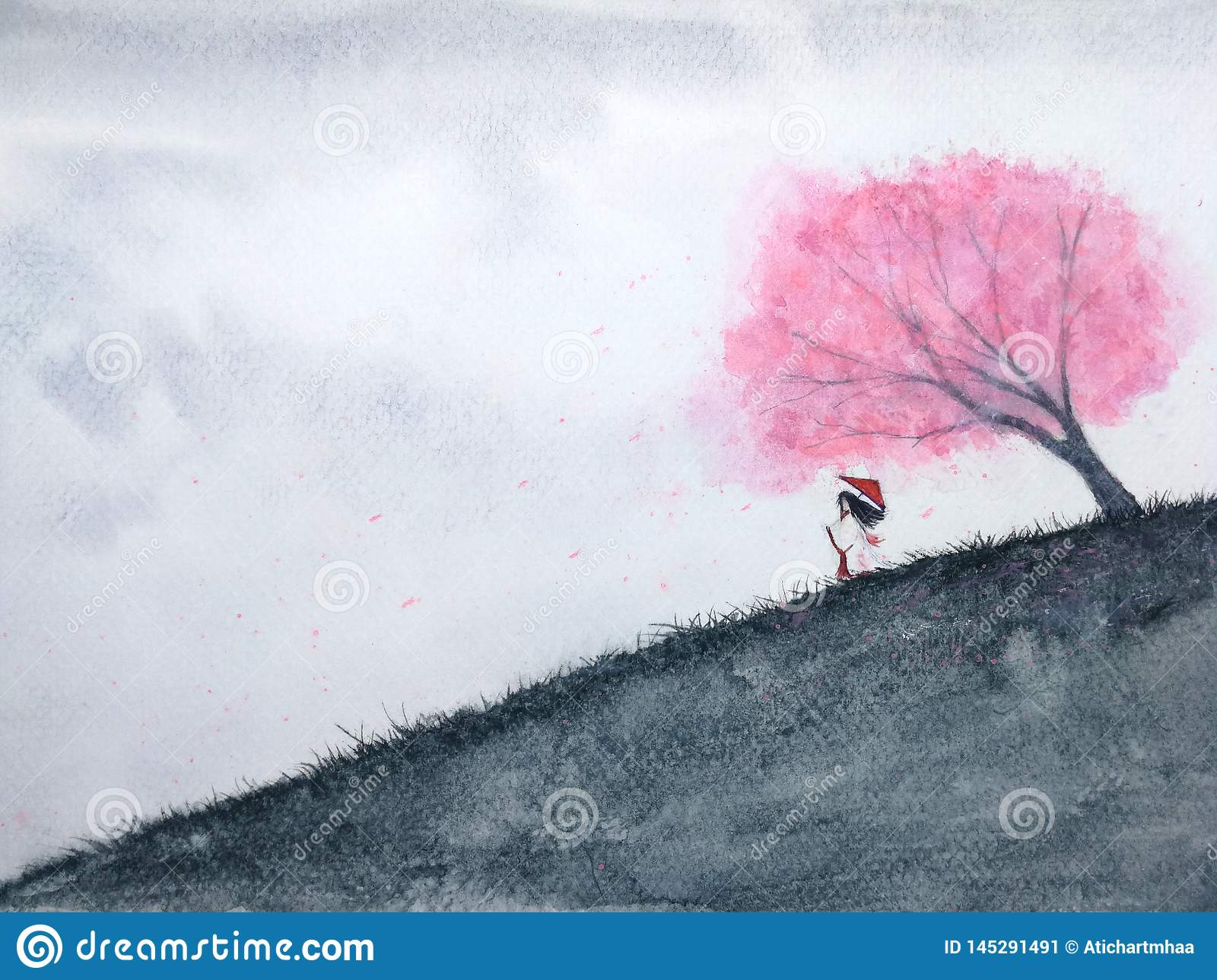 Traditional oriental woman waiting someone under cherry blossom or sakura in field. watercolor landscape