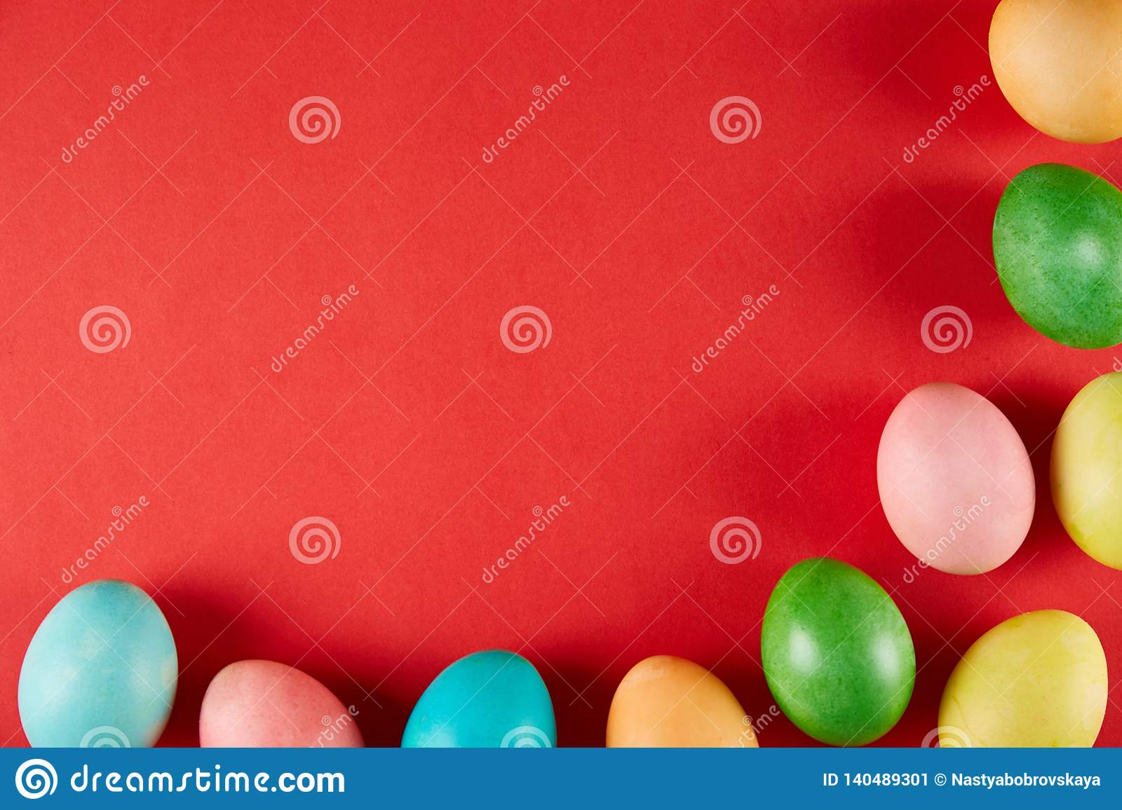 Traditional painted Easter eggs concept. Top view composition