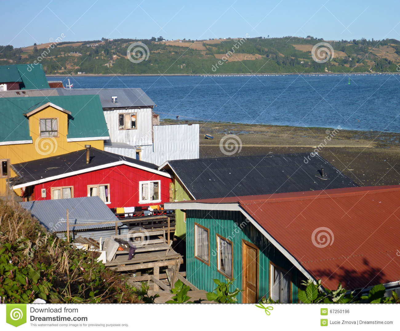 Traditional palafitos houses on woodem columns in chiloe