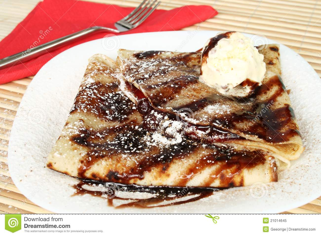 Traditional pancakes with chocolate