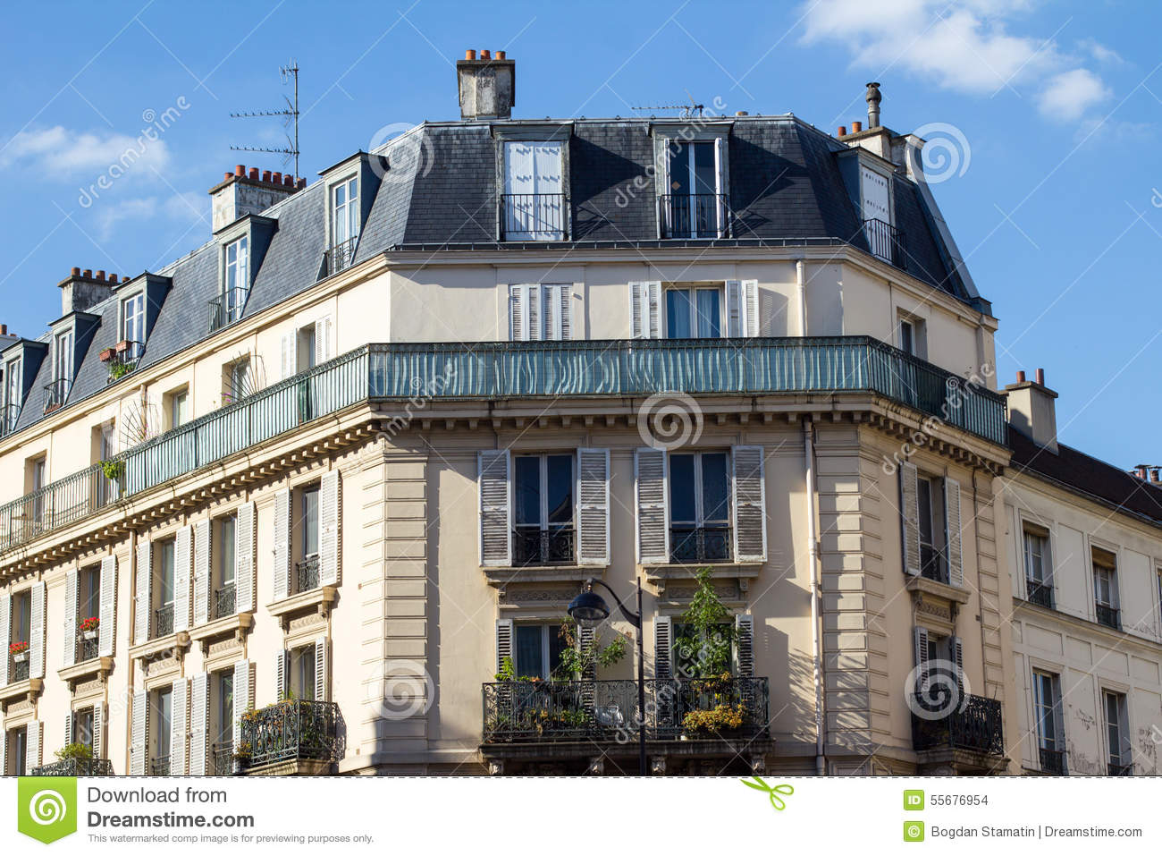 Traditional parisian architecture stock photo image for Classic builders