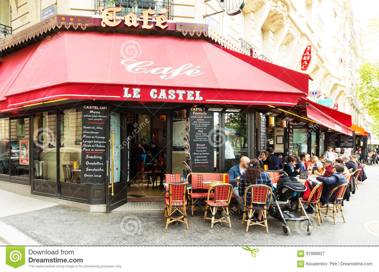 The Traditional Parisian Cafe Le Castel France Editorial Photography Image Of Europe Cafe 91988927