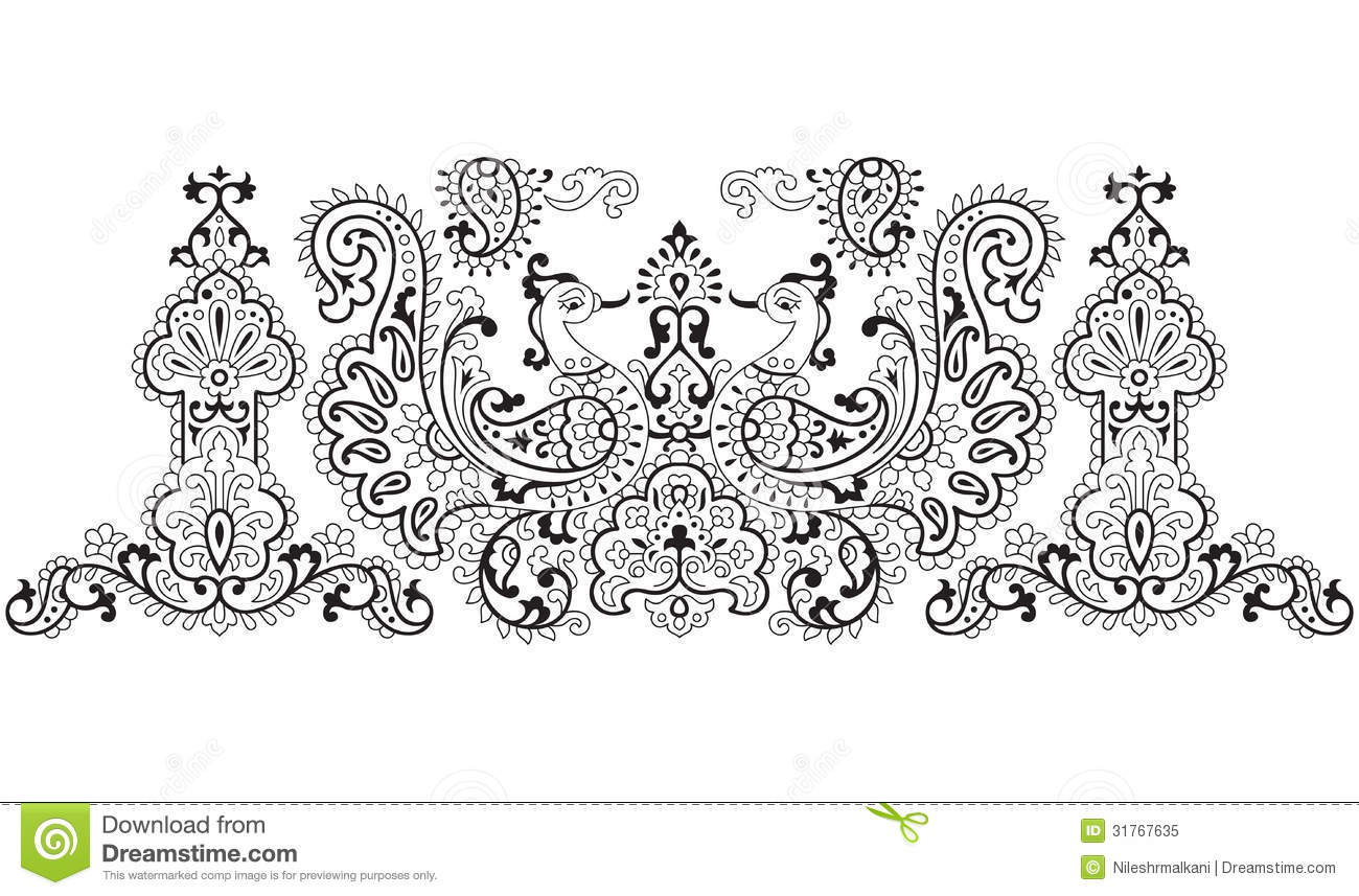 traditional peacock design no outline work in object  royalty free stock photo