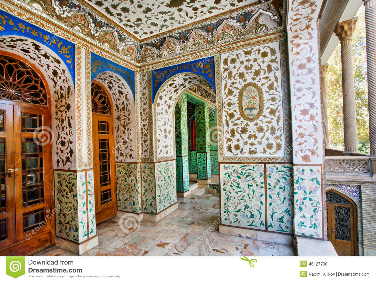 Editorial Stock Photo & Traditional Persian Design Of The Palace Golestan With Painted ... Pezcame.Com