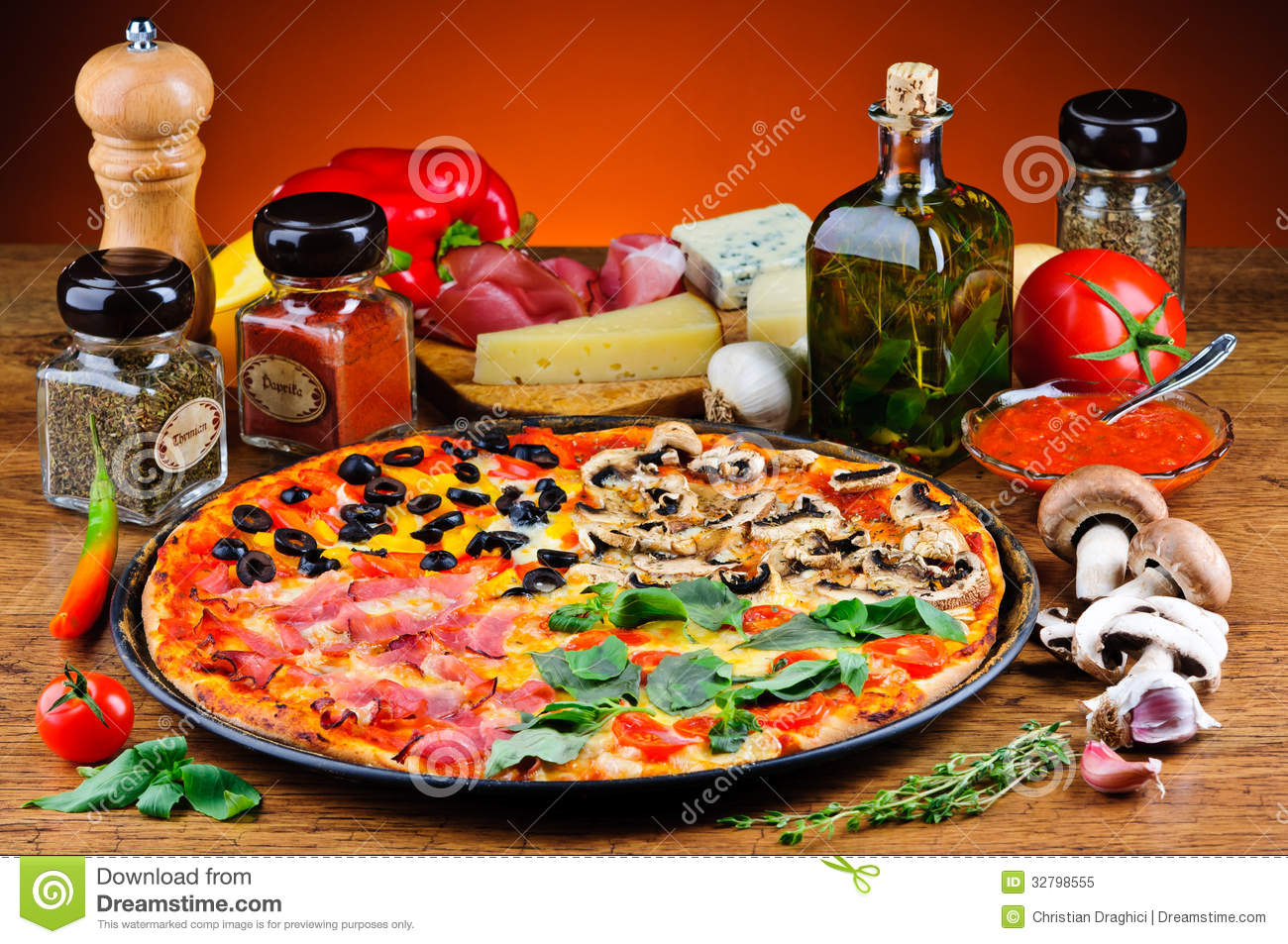 Traditional Pizza And Ingredients Stock Image Image