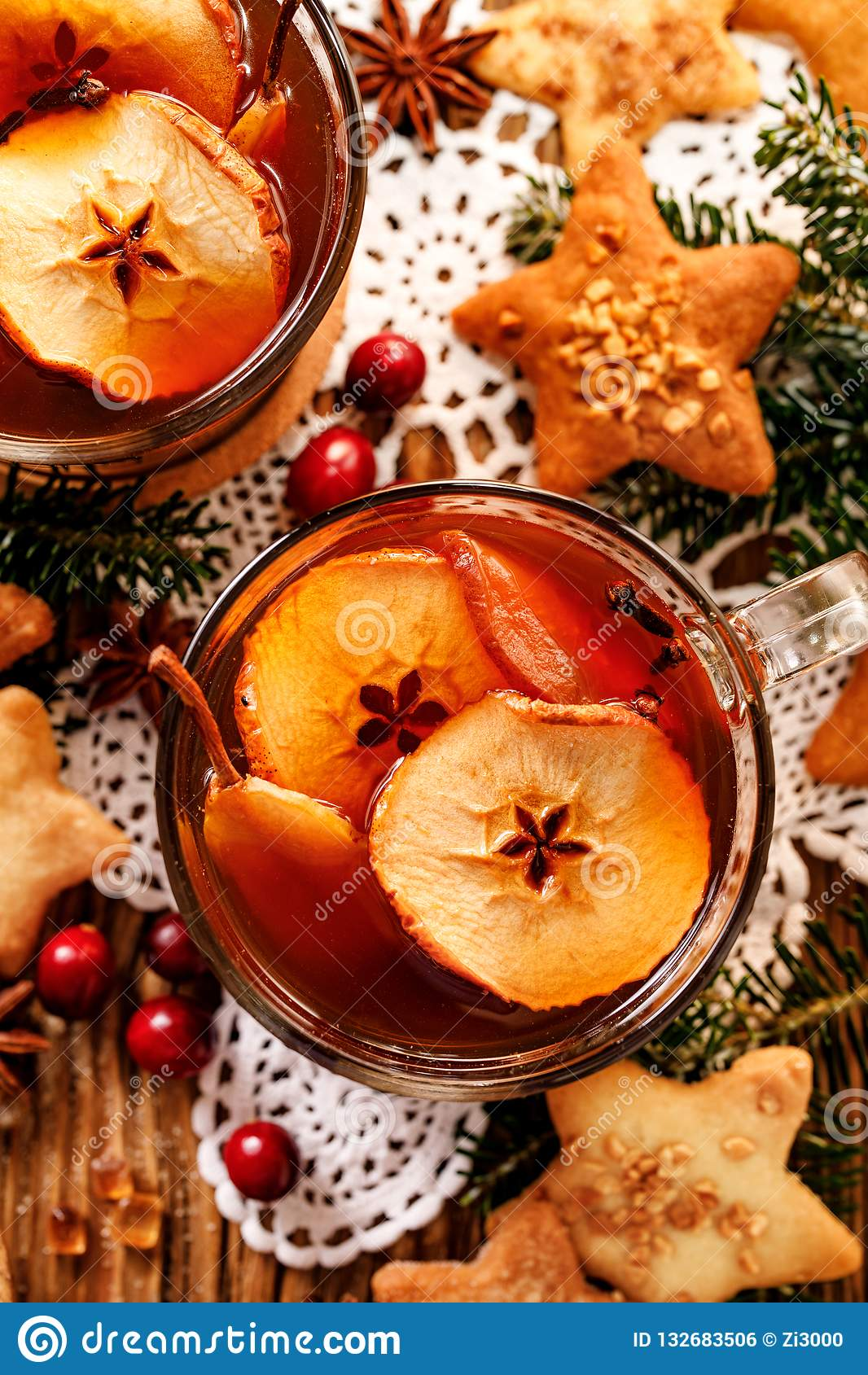 Compote of dried fruits and aromatic spices, a traditional drink during Christmas dinner. Traditional Polish Christmas