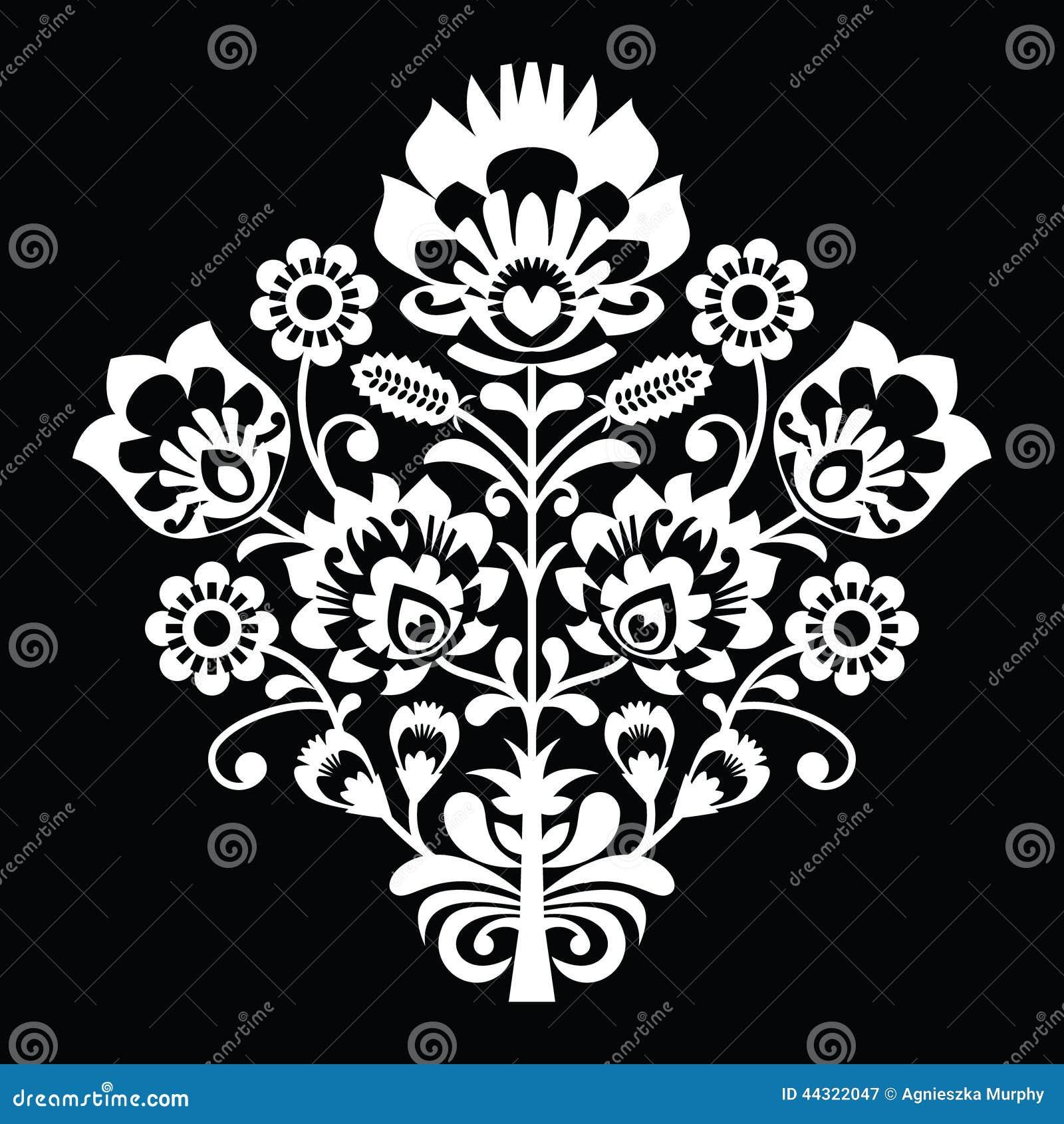 Traditional Polish Folk Art Pattern On Black Wzory