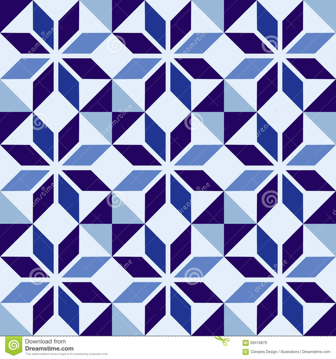 Seamless Mosaic Pattern Blue Ceramic Tile Cartoon Vector